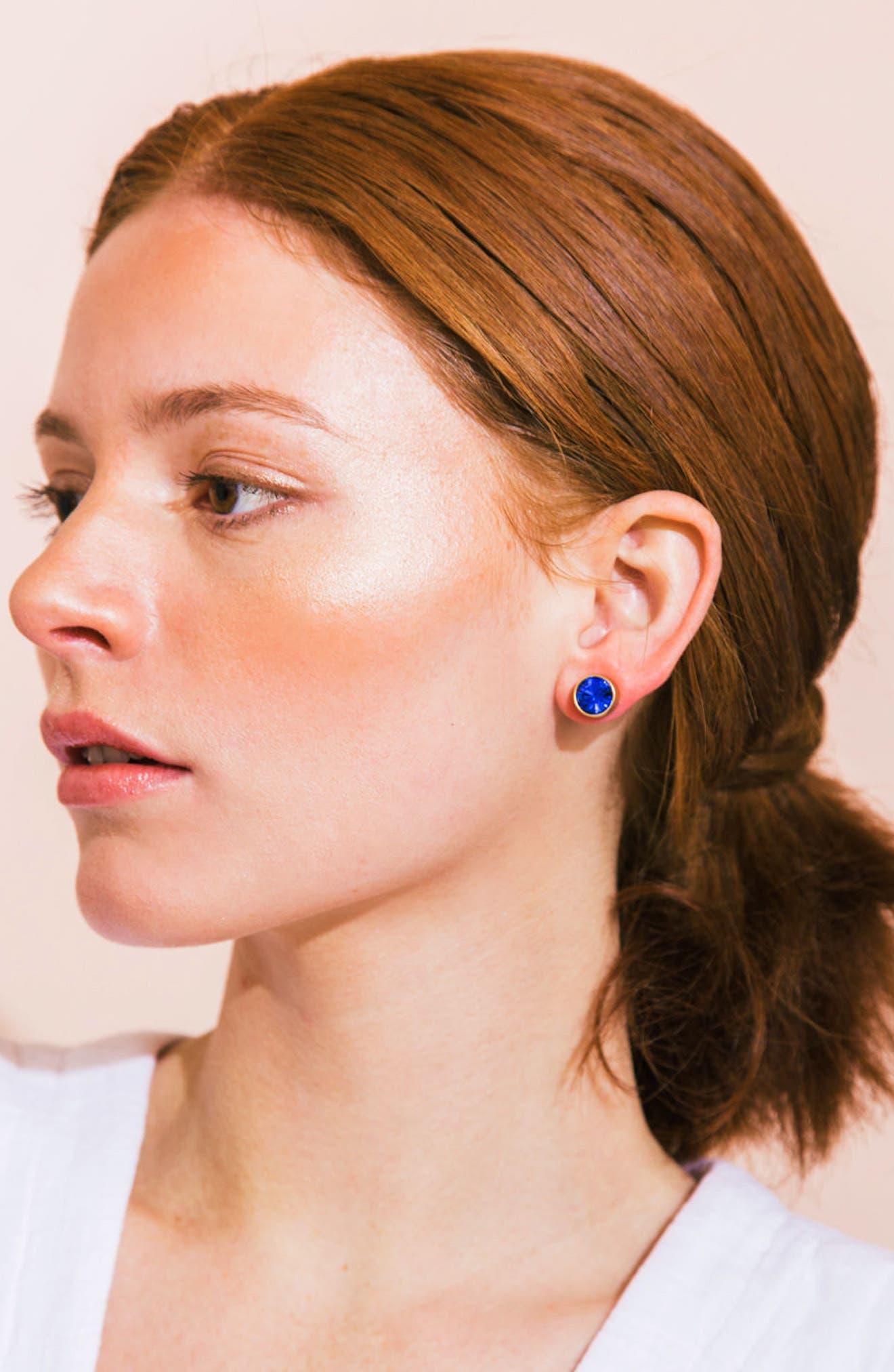 Bezel Set Stud Earrings,                             Alternate thumbnail 21, color,