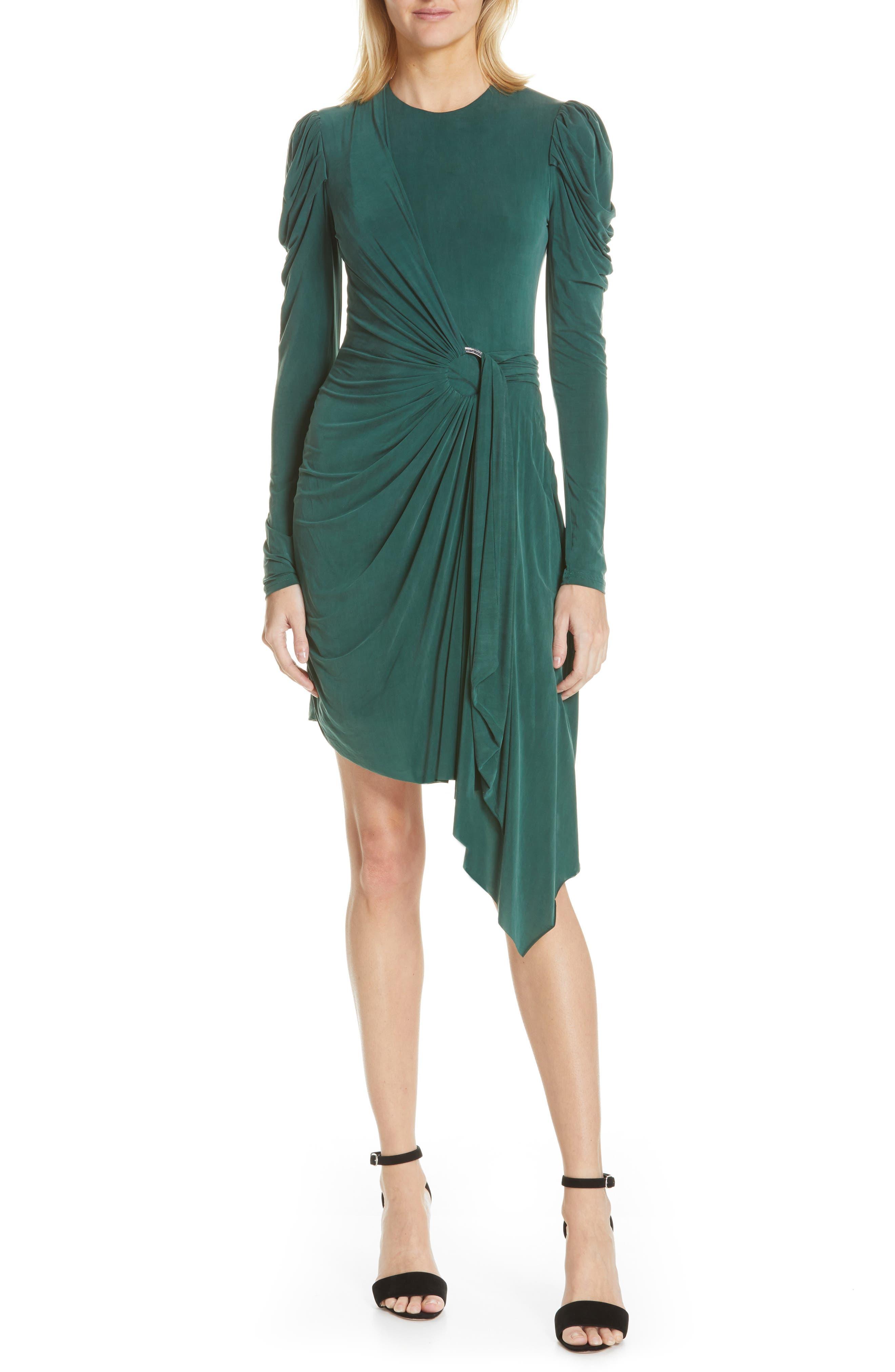 Jonathan Simkhai Asymmetrical Sueded Jersey Faux Wrap Dress, Green