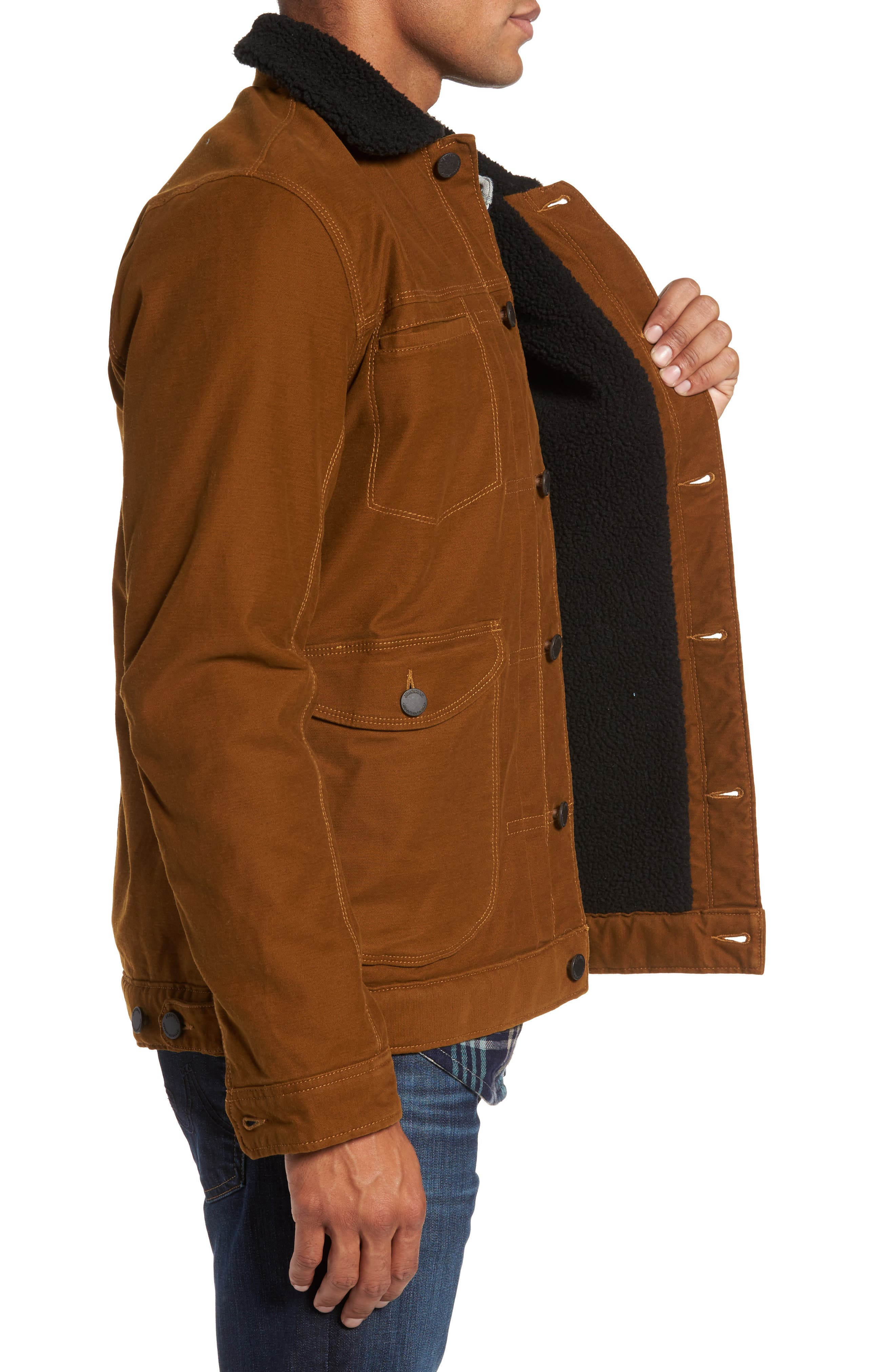 Terra Broken Twill Jacket with Faux Shearling Trim,                             Alternate thumbnail 3, color,