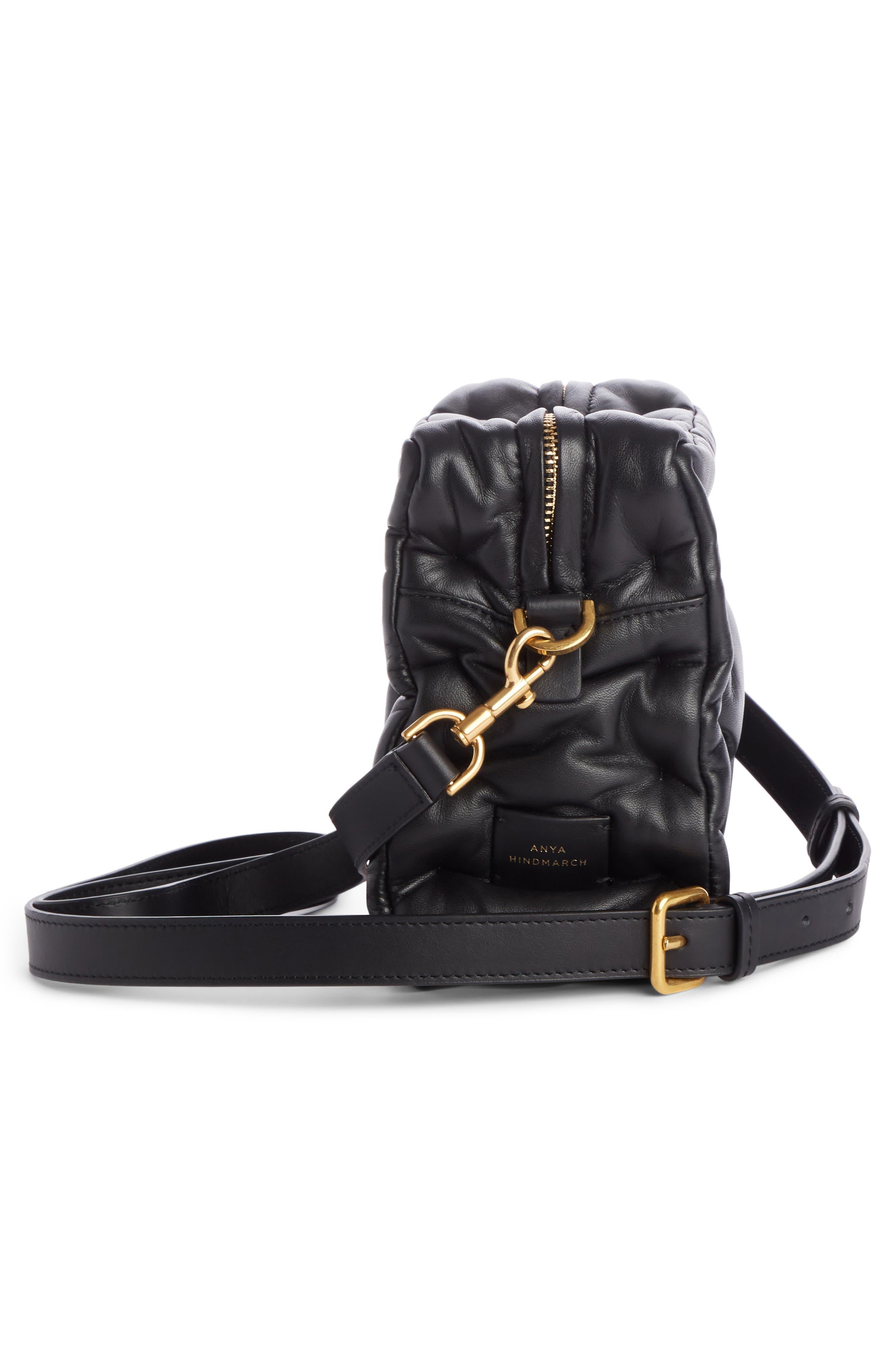 Chubby Cube Leather Crossbody Bag,                             Alternate thumbnail 3, color,                             BLACK