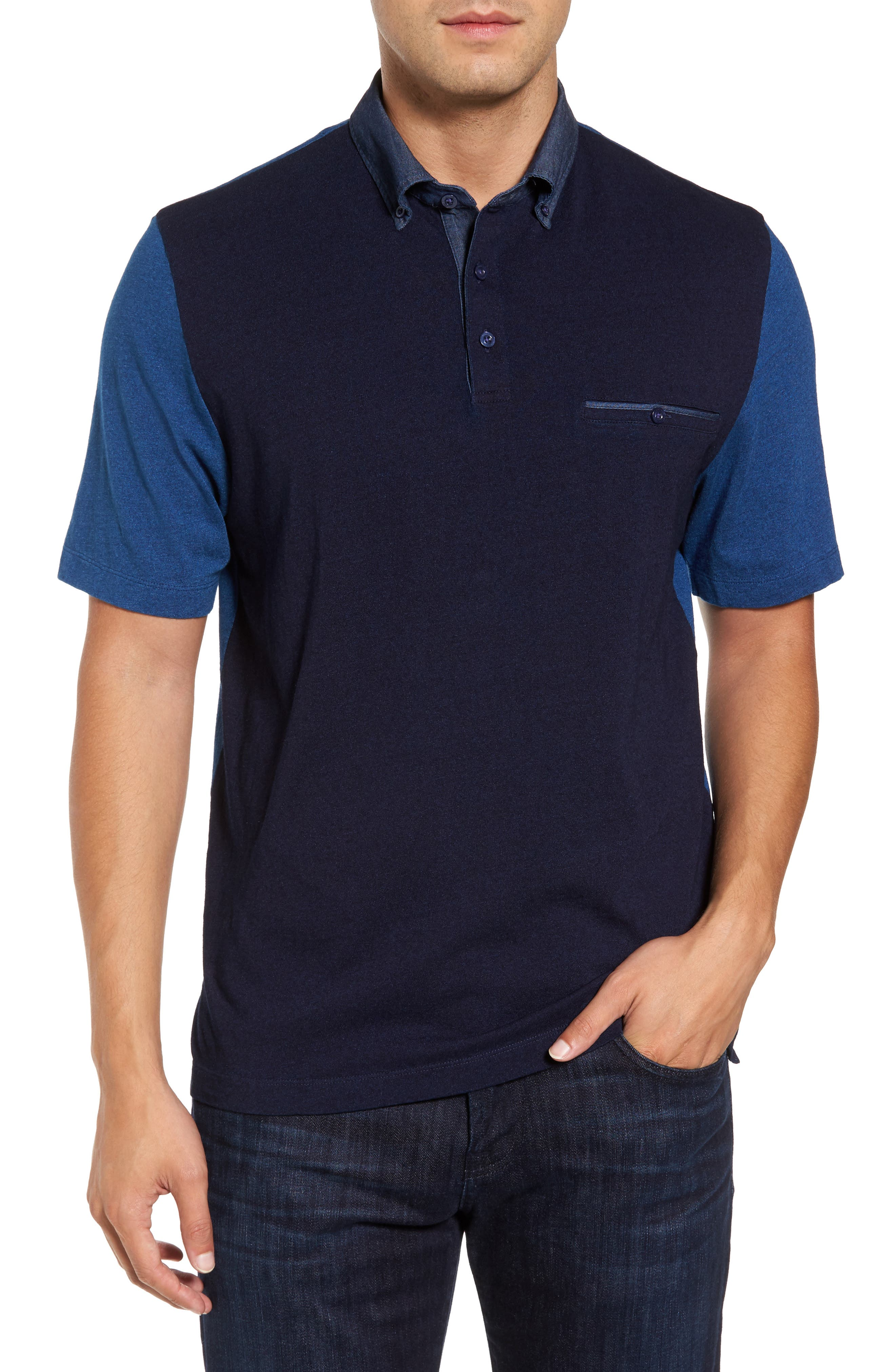 Colorblock Button Down Polo,                         Main,                         color, 439