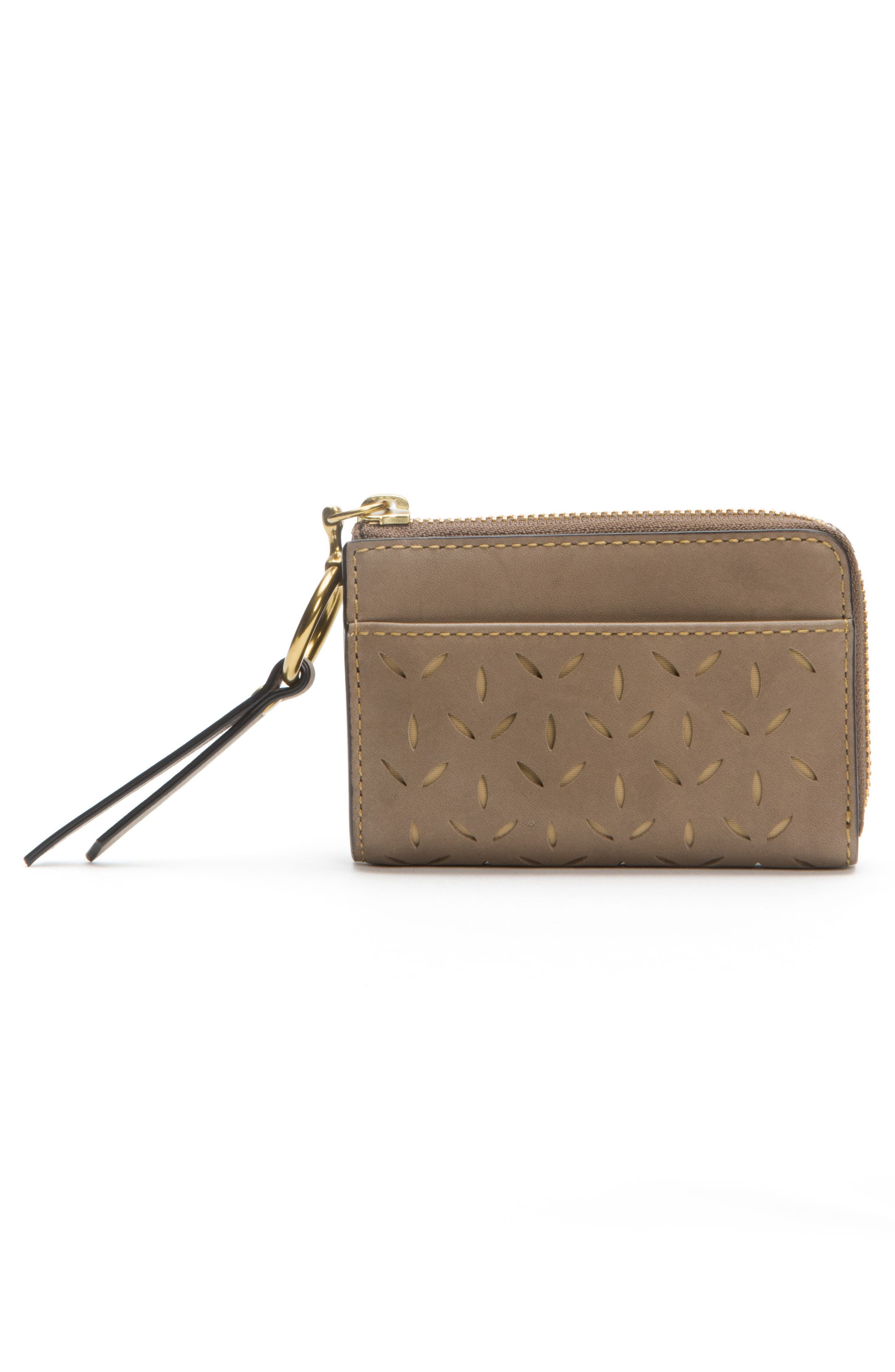 Ilana Small Perforated Leather Zip Wallet,                             Alternate thumbnail 8, color,