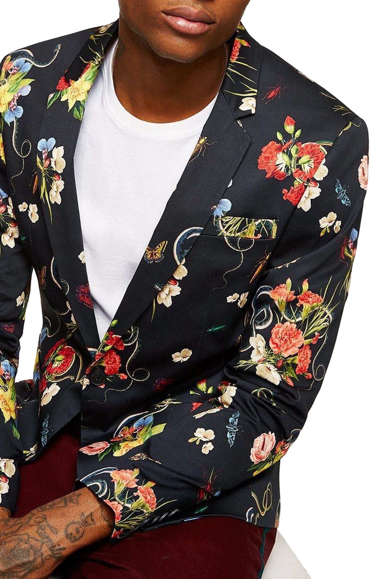 Skinny Fit Floral Print Sport Coat,                             Main thumbnail 1, color,                             001