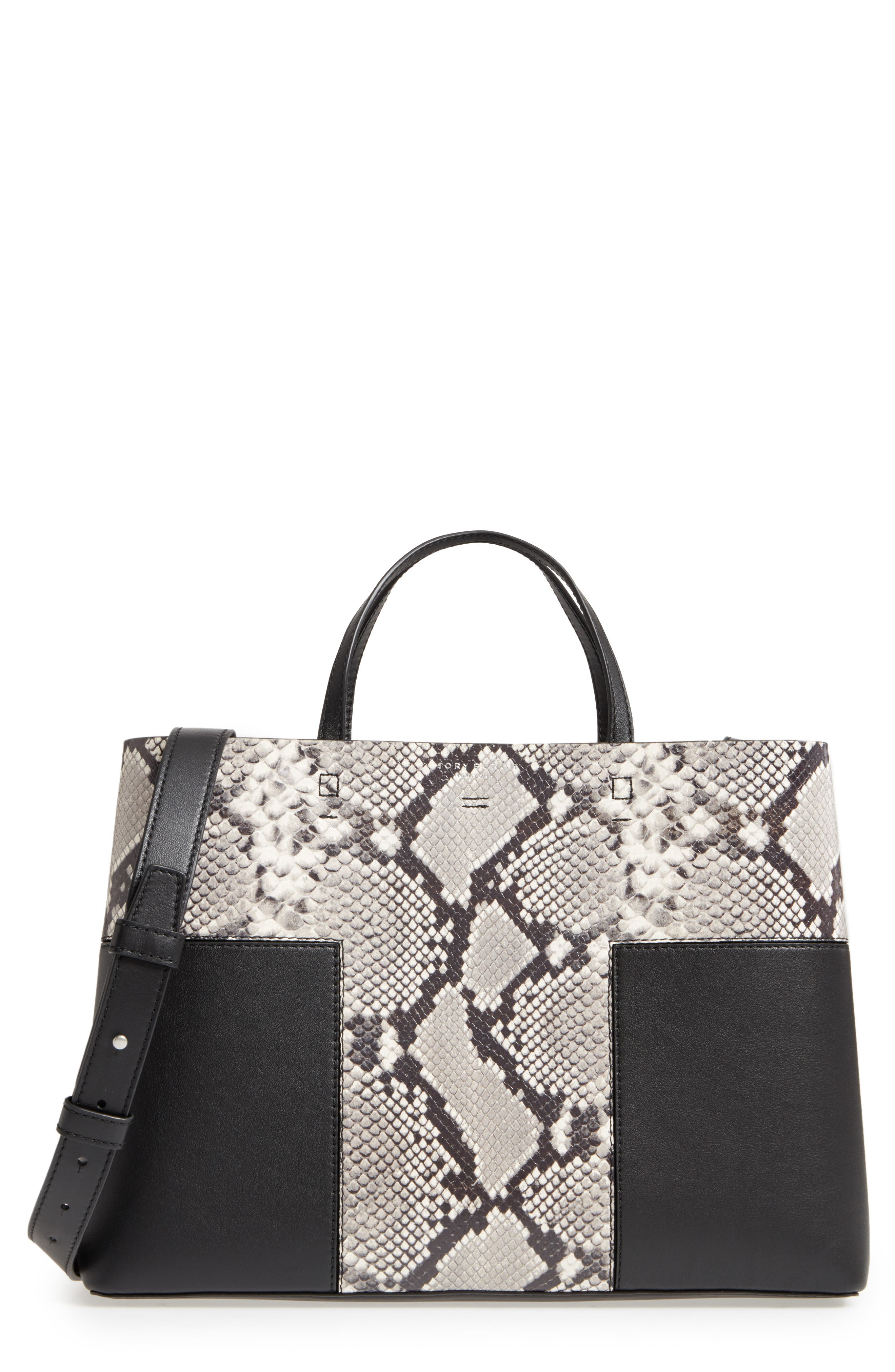 Block-T Snake Embossed Leather Tote,                         Main,                         color, 001