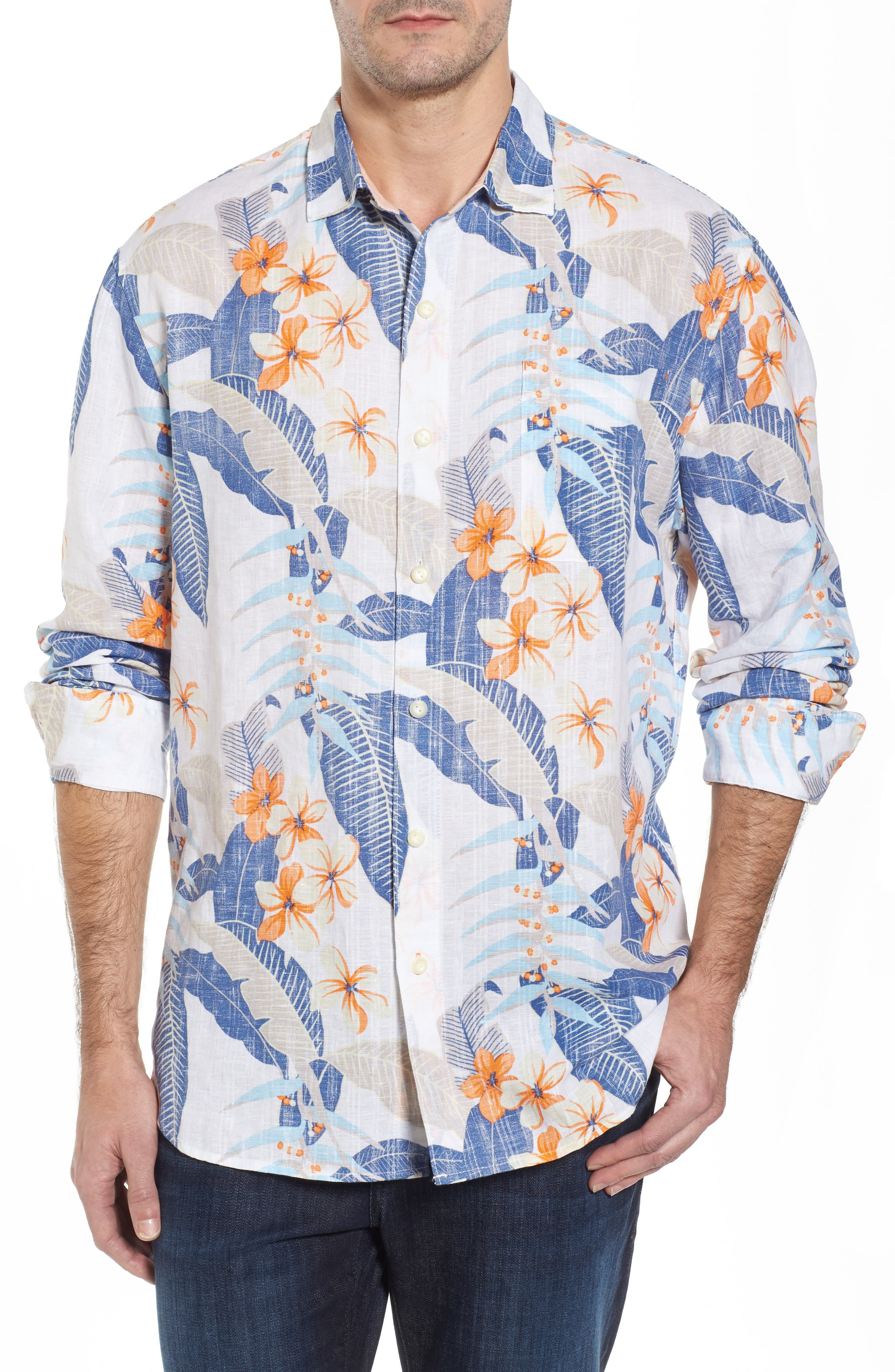 Liviea Leaves Linen Blend Camp Shirt,                             Main thumbnail 1, color,                             100