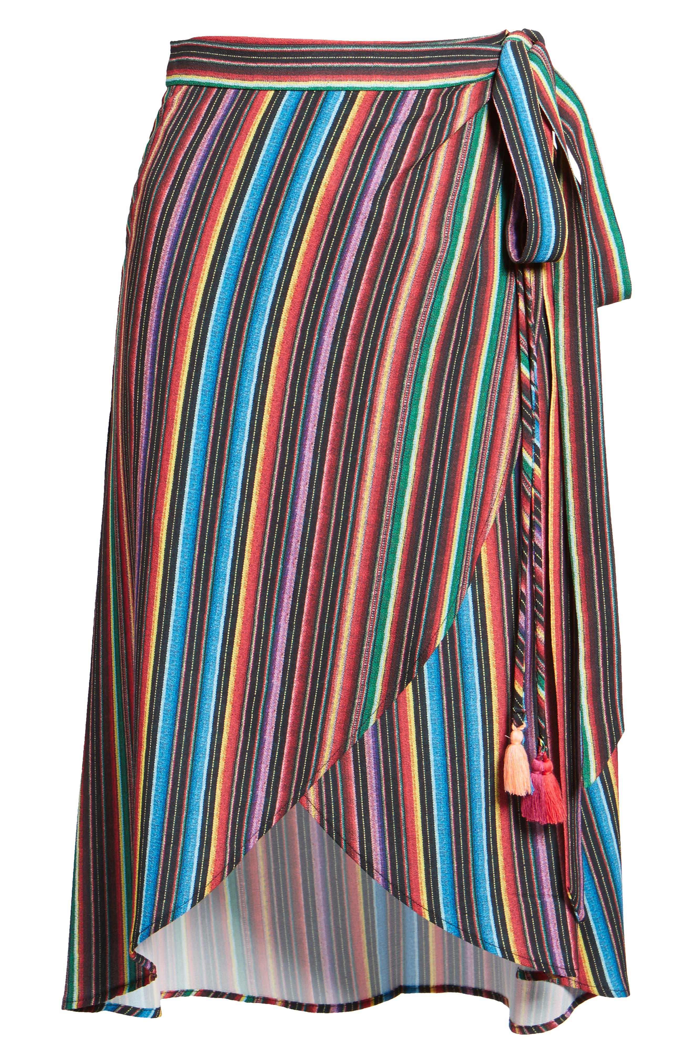 Panama Tassel Wrap Skirt,                             Alternate thumbnail 6, color,                             001