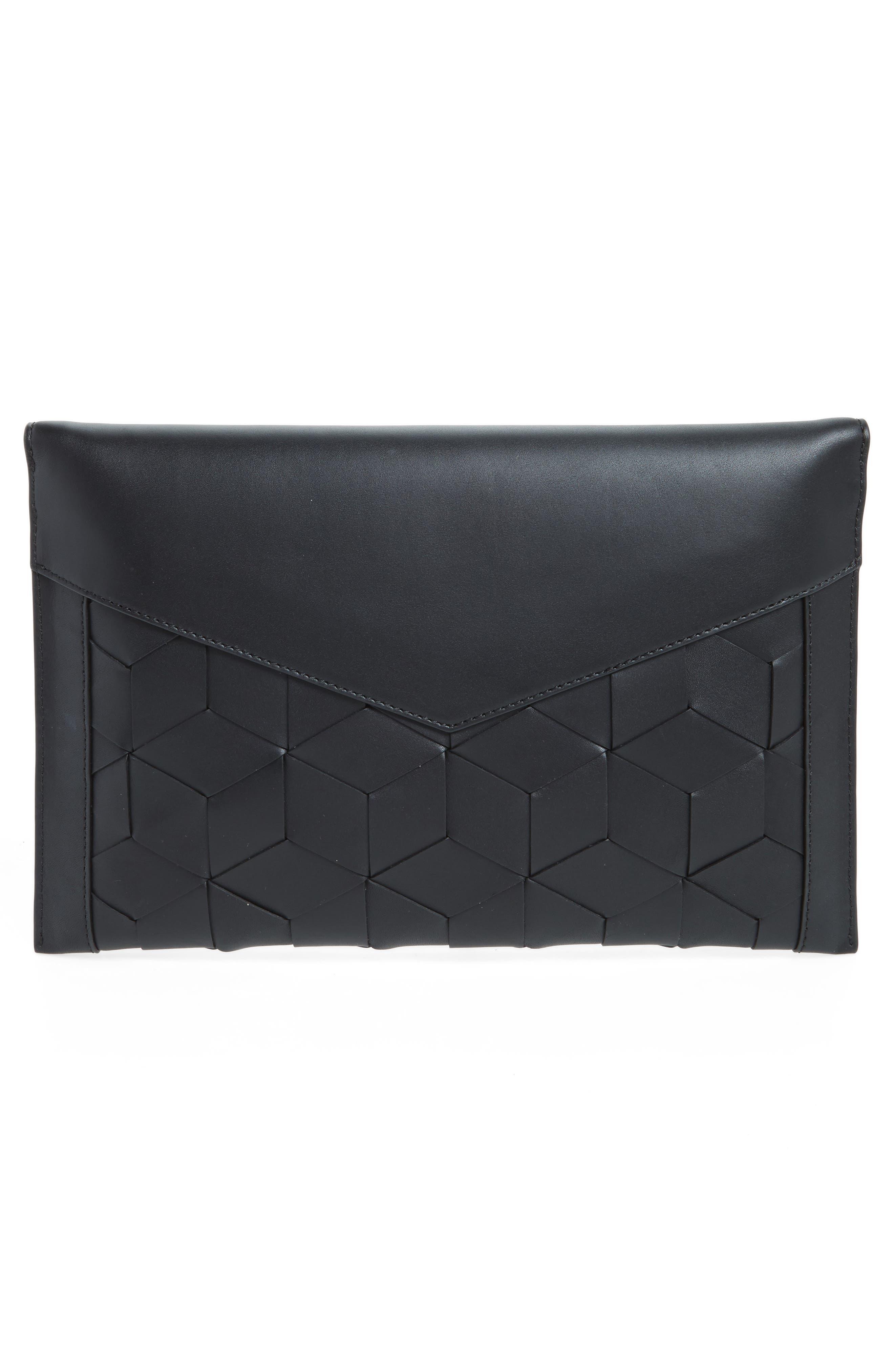 Mingle Woven Calfskin Leather Clutch,                             Alternate thumbnail 3, color,                             BLACK