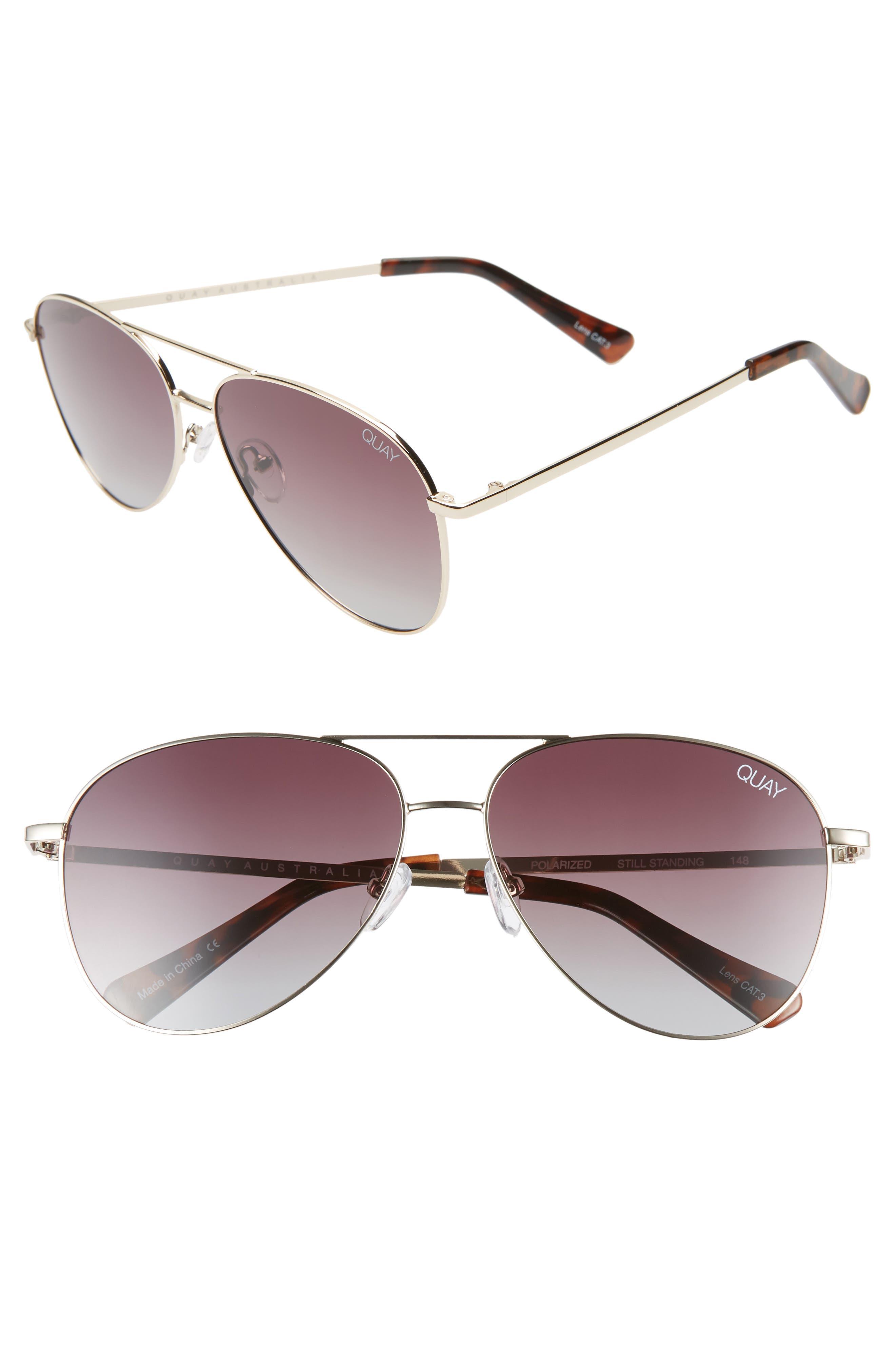 Still Standing 60Mm Aviator Sunglasses - Gold / Smoke Taupe