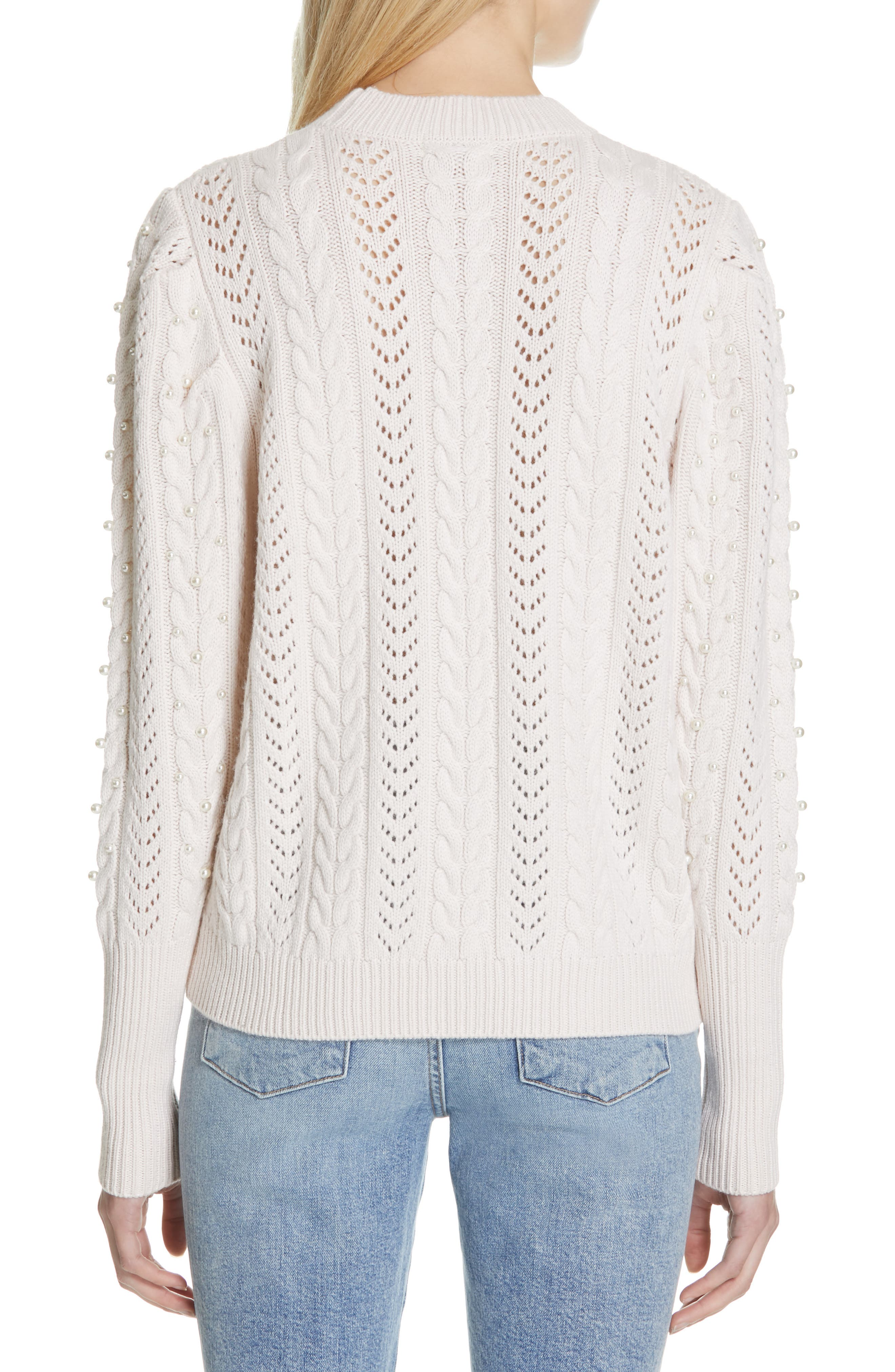 Tinala Faux Pearl Detail Cable Sweater,                             Alternate thumbnail 2, color,                             ANTIQUE WHITE
