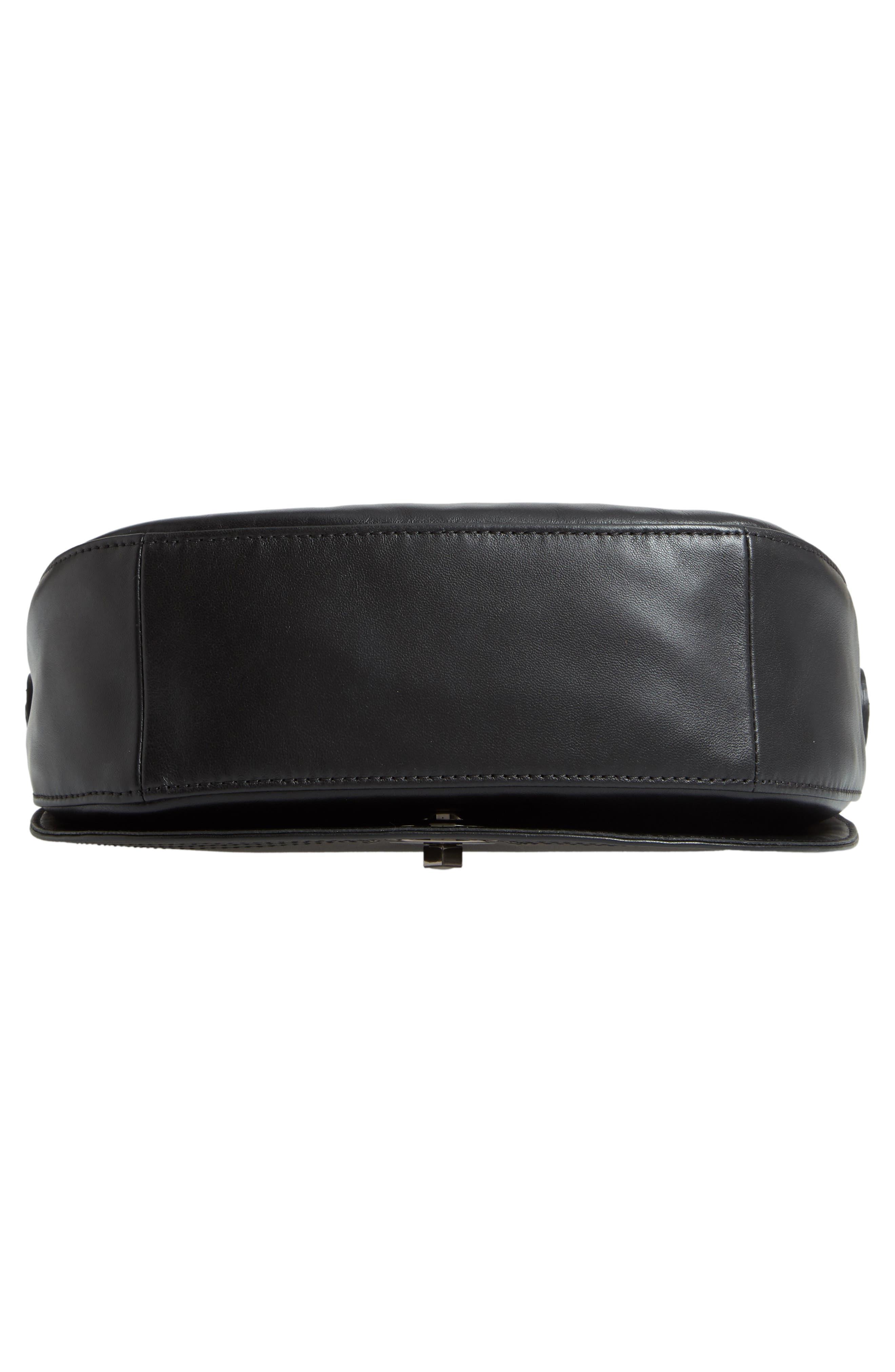 Medium Cavalcade Leather Saddle Bag,                             Alternate thumbnail 6, color,                             BLACK