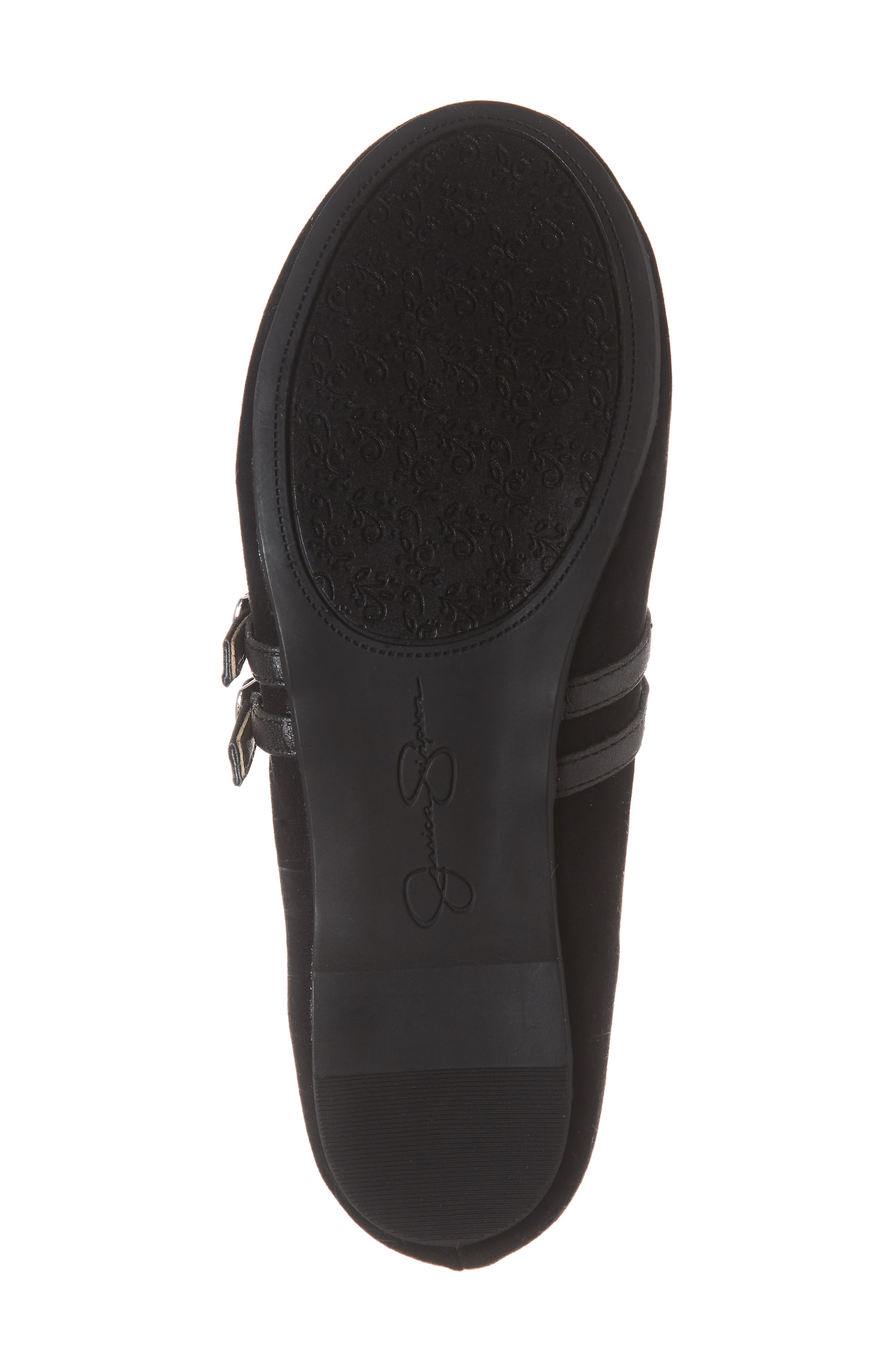 Embroidered Mary Jane Flat,                             Alternate thumbnail 6, color,                             BLACK MICRO SUEDE