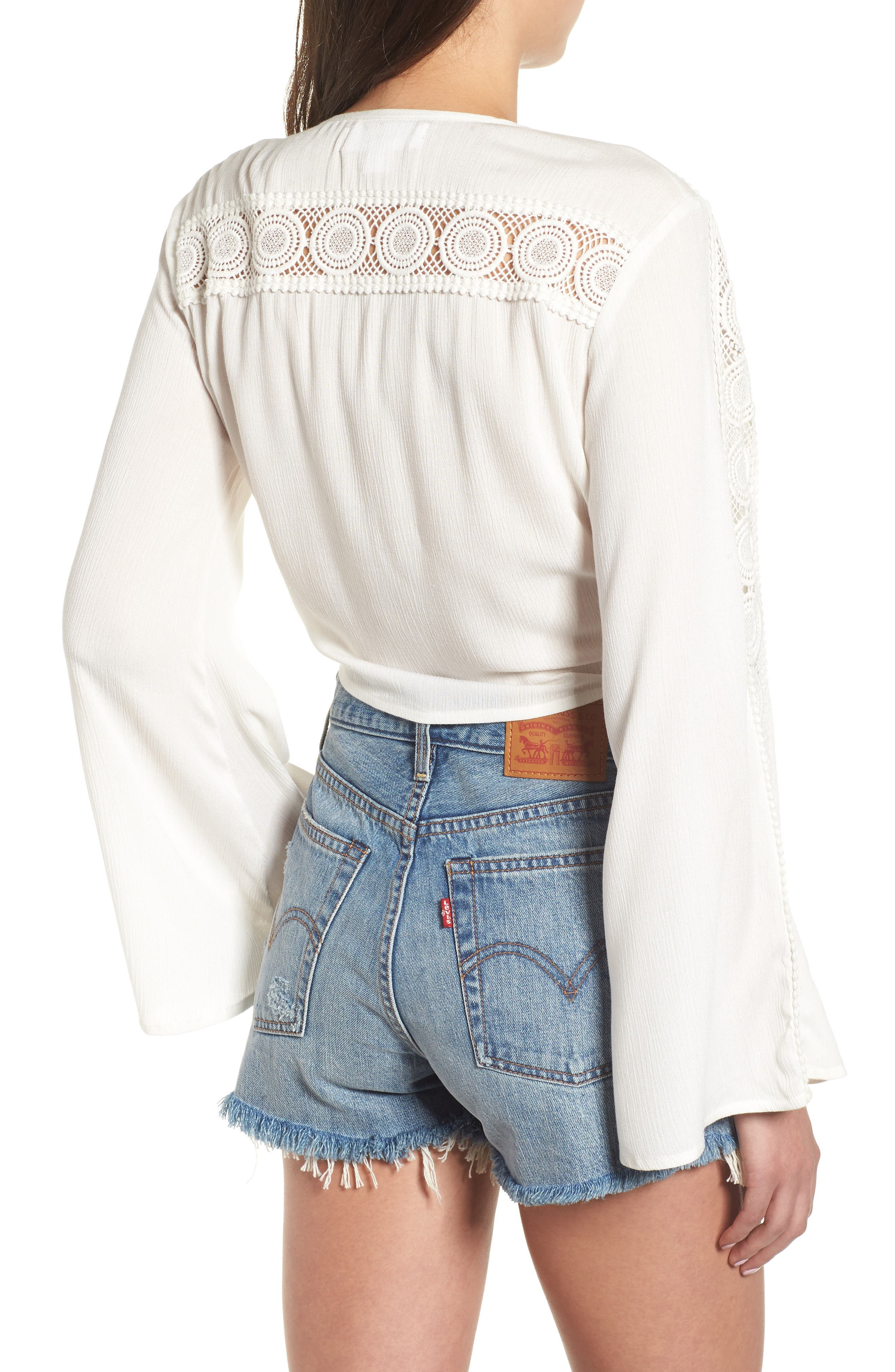 Tie Front Crop Top,                             Alternate thumbnail 2, color,                             IVORY