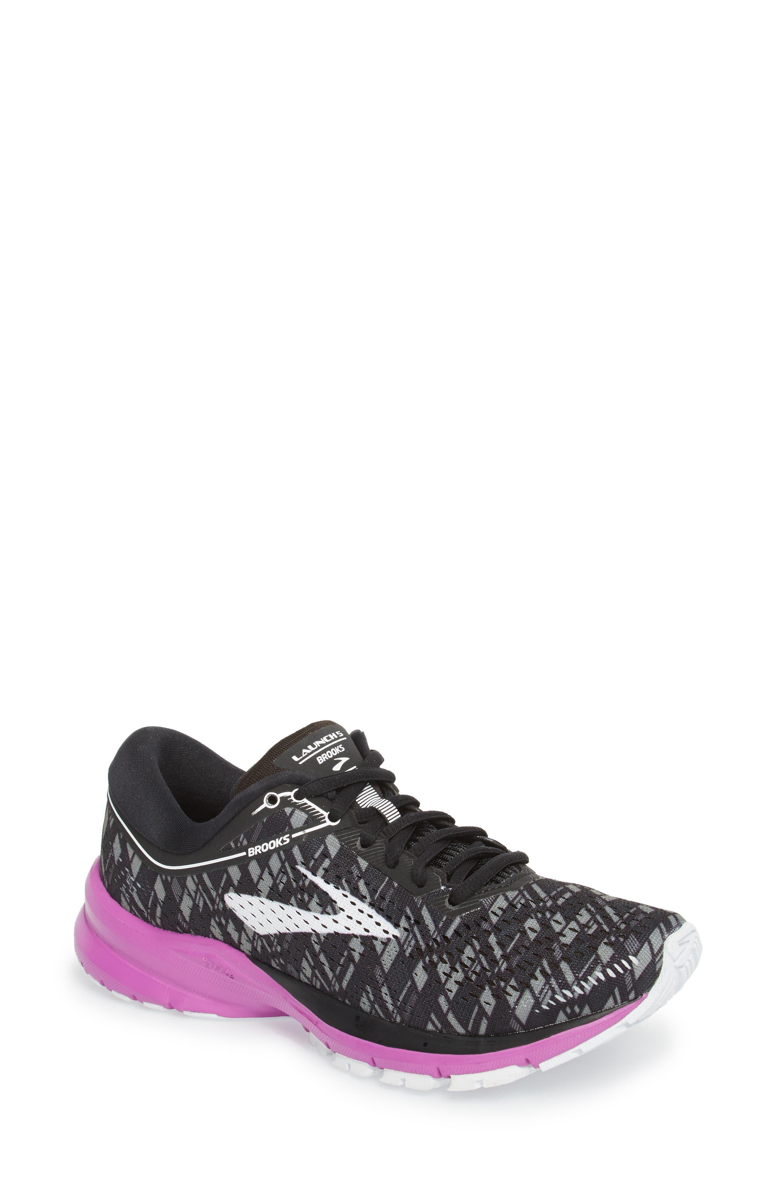 Launch 5 Running Shoe,                             Main thumbnail 1, color,                             BLACK/ PURPLE/ PRINT