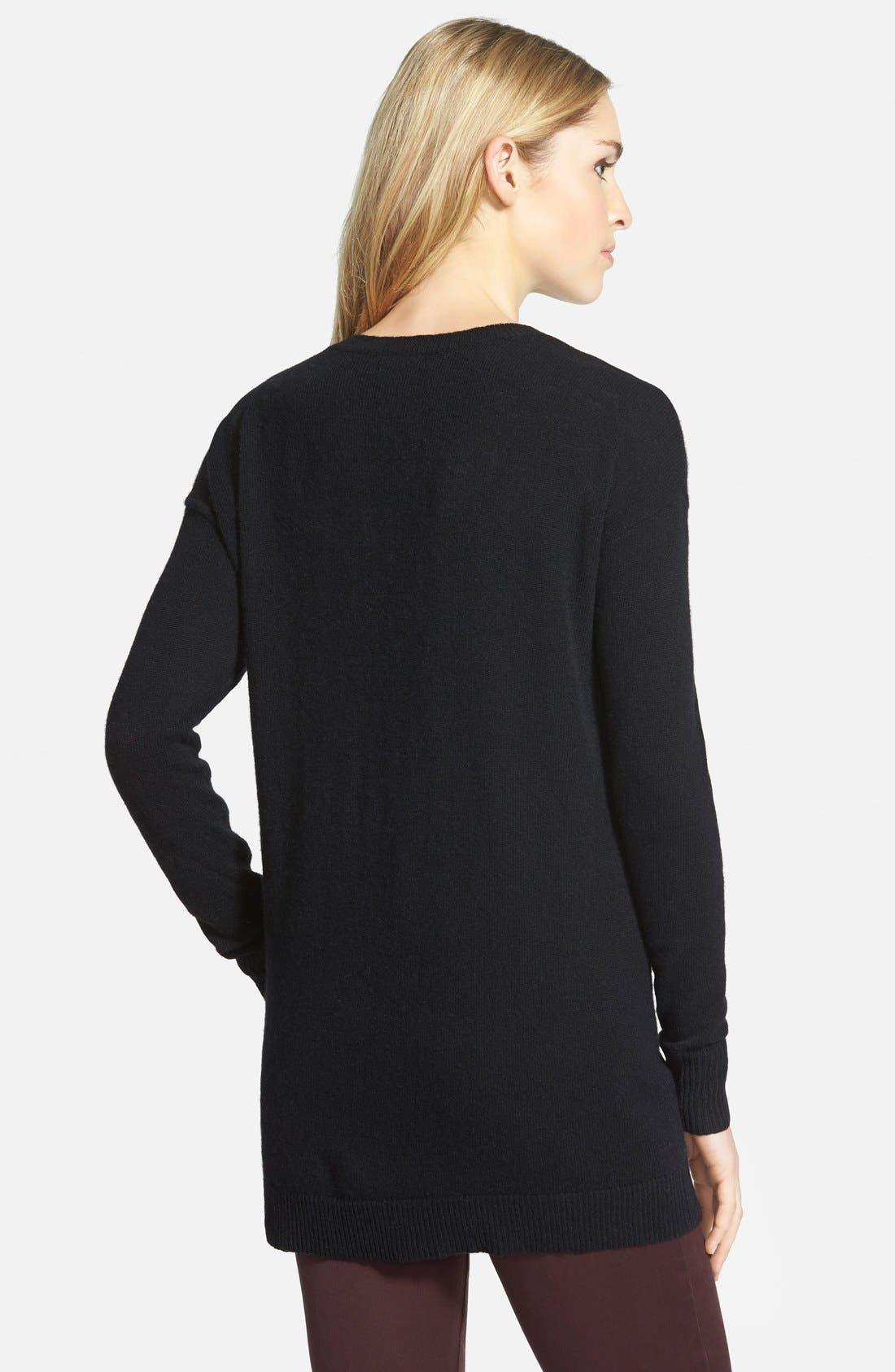 HALOGEN<SUP>®</SUP>,                             V-Neck Cashmere Tunic Sweater,                             Alternate thumbnail 6, color,                             001
