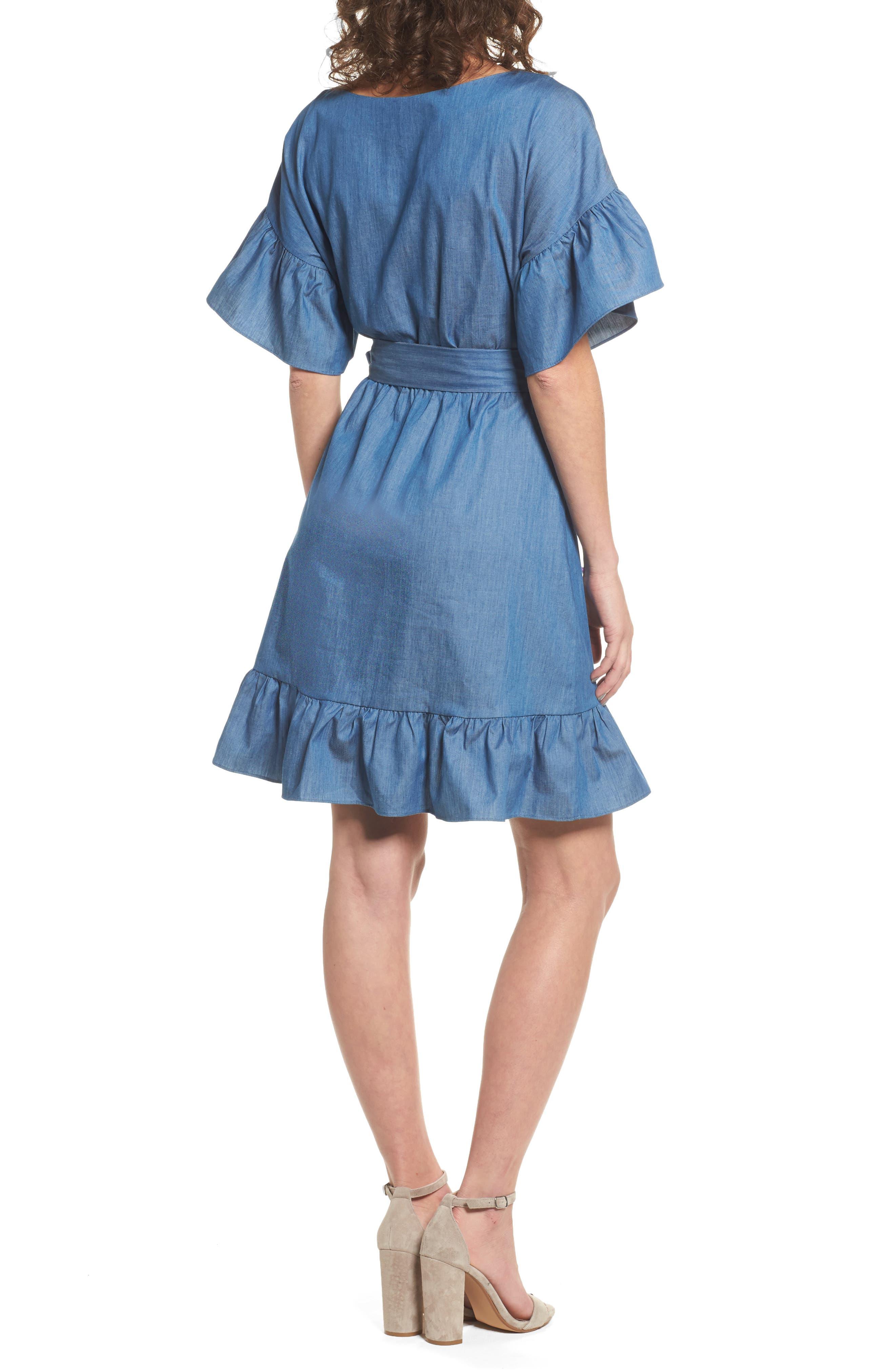 Ruffle Denim Wrap Dress,                             Alternate thumbnail 2, color,                             405