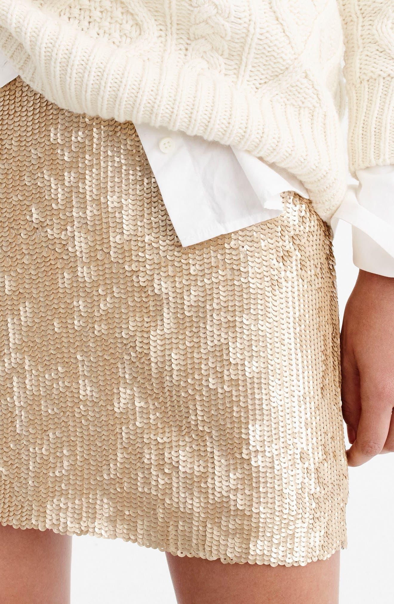 Sequin Miniskirt,                             Alternate thumbnail 4, color,