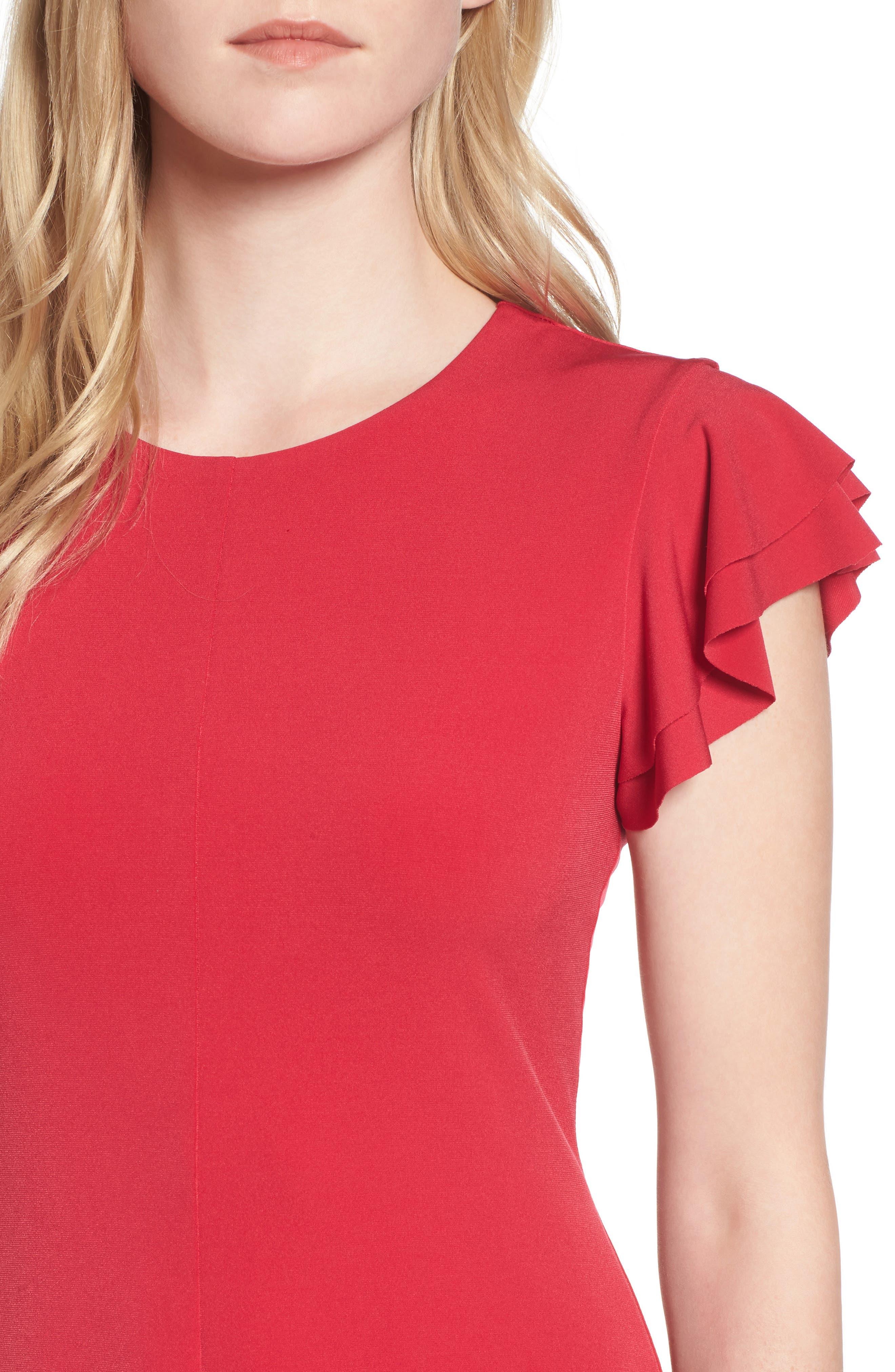 Flutter Sleeve Stretch Jersey Dress,                             Alternate thumbnail 4, color,