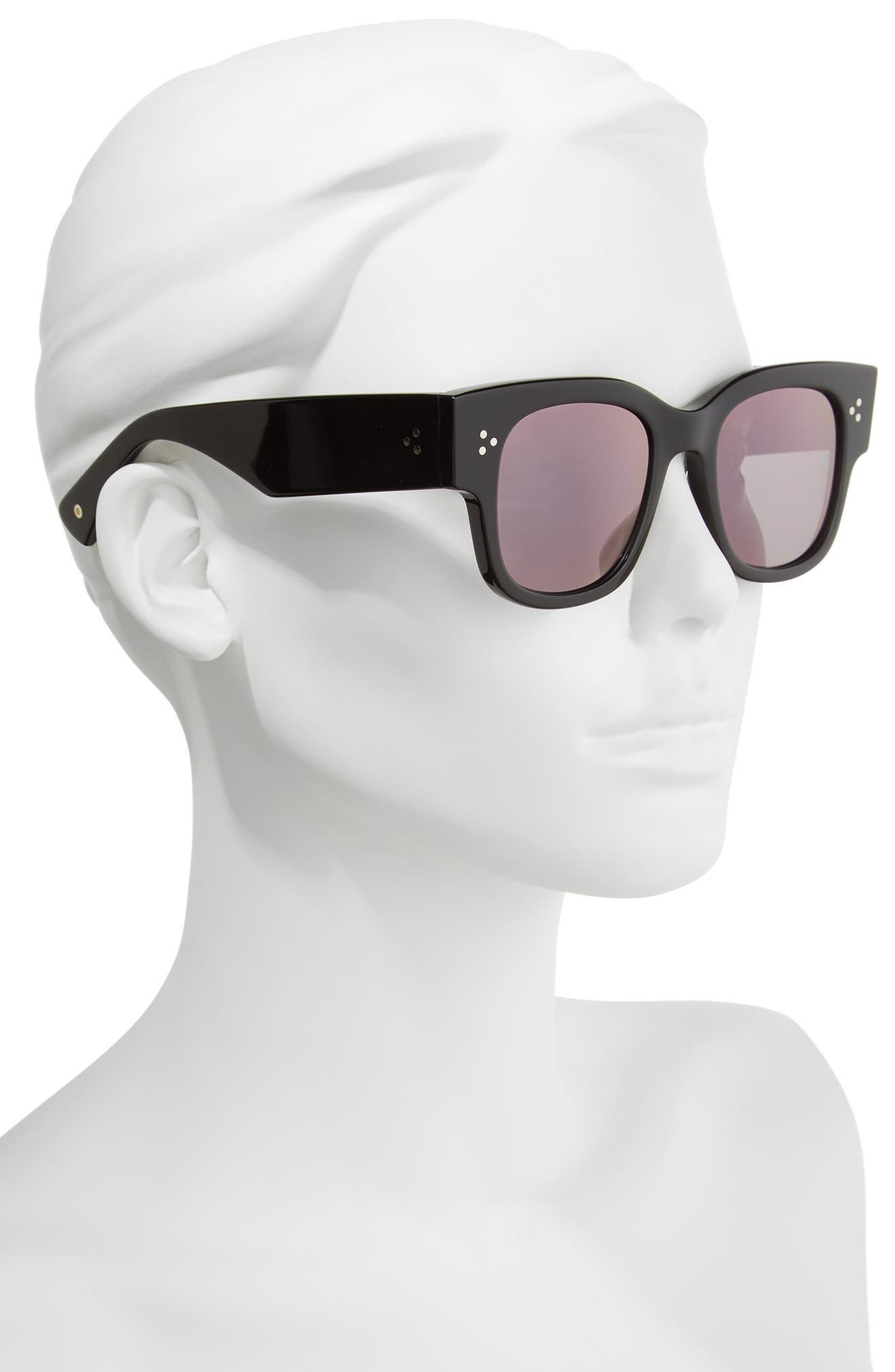 Tavita 50mm Polarized Square Sunglasses,                             Alternate thumbnail 2, color,                             BLACK