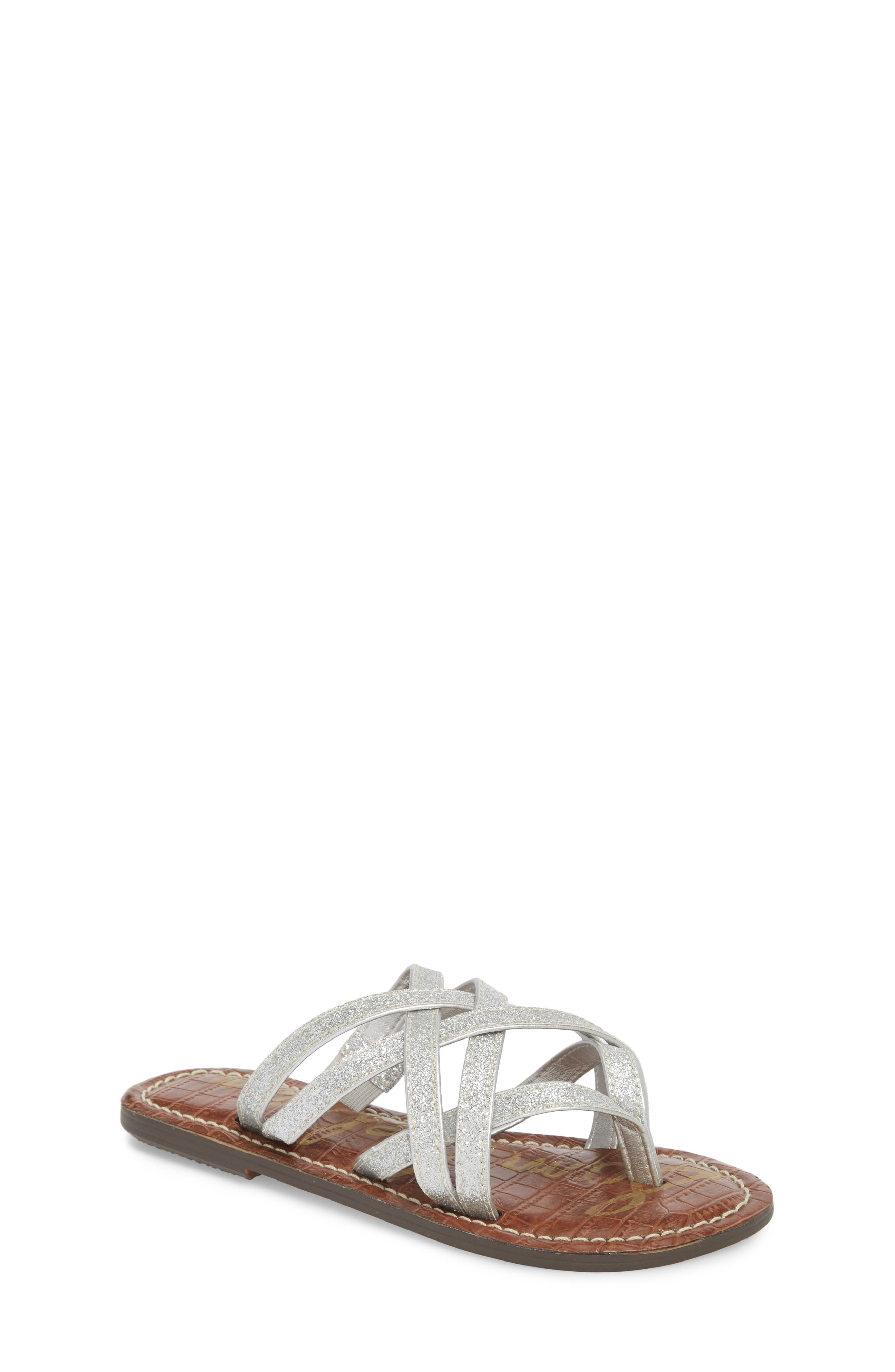 Georgette Glitter Flat Sandal,                             Main thumbnail 1, color,                             040