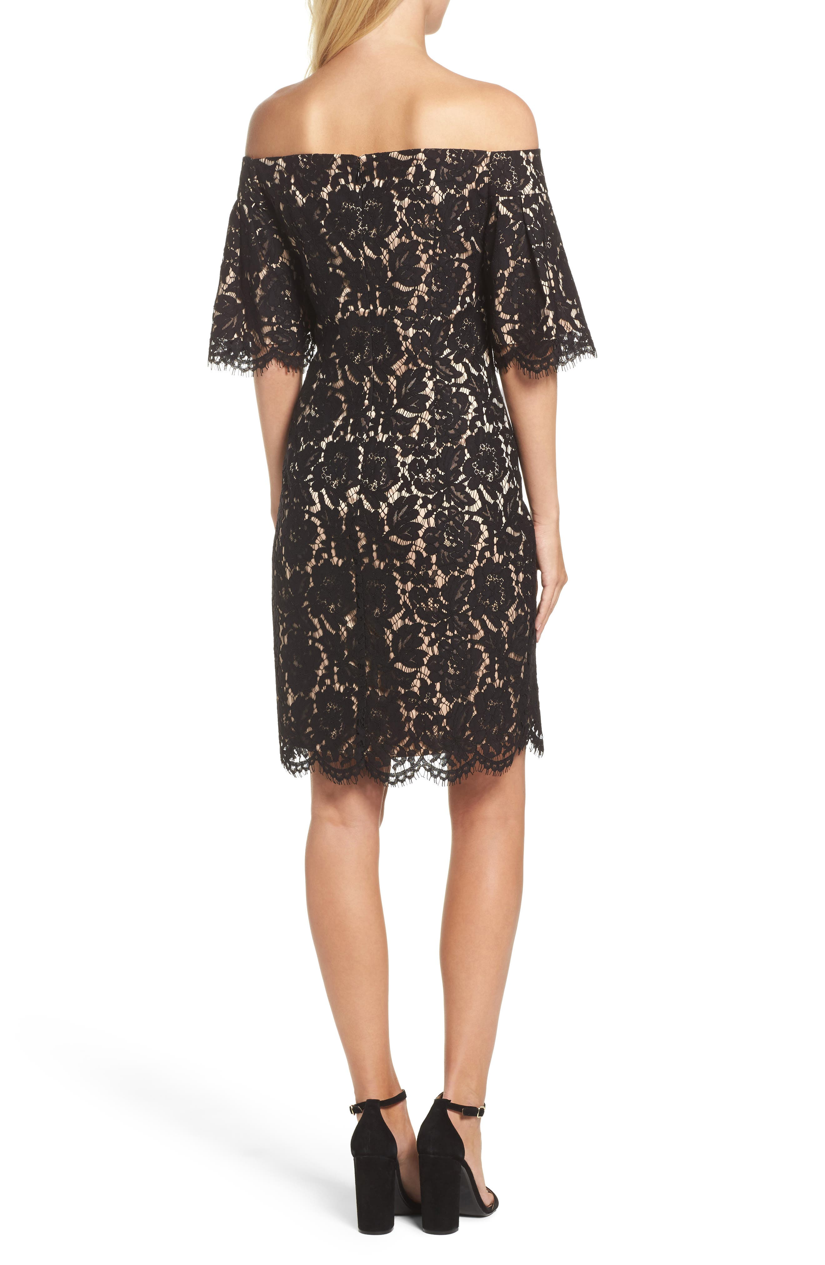 Flounce Sleeve Off the Shoulder Lace Sheath Dress,                             Alternate thumbnail 2, color,                             001