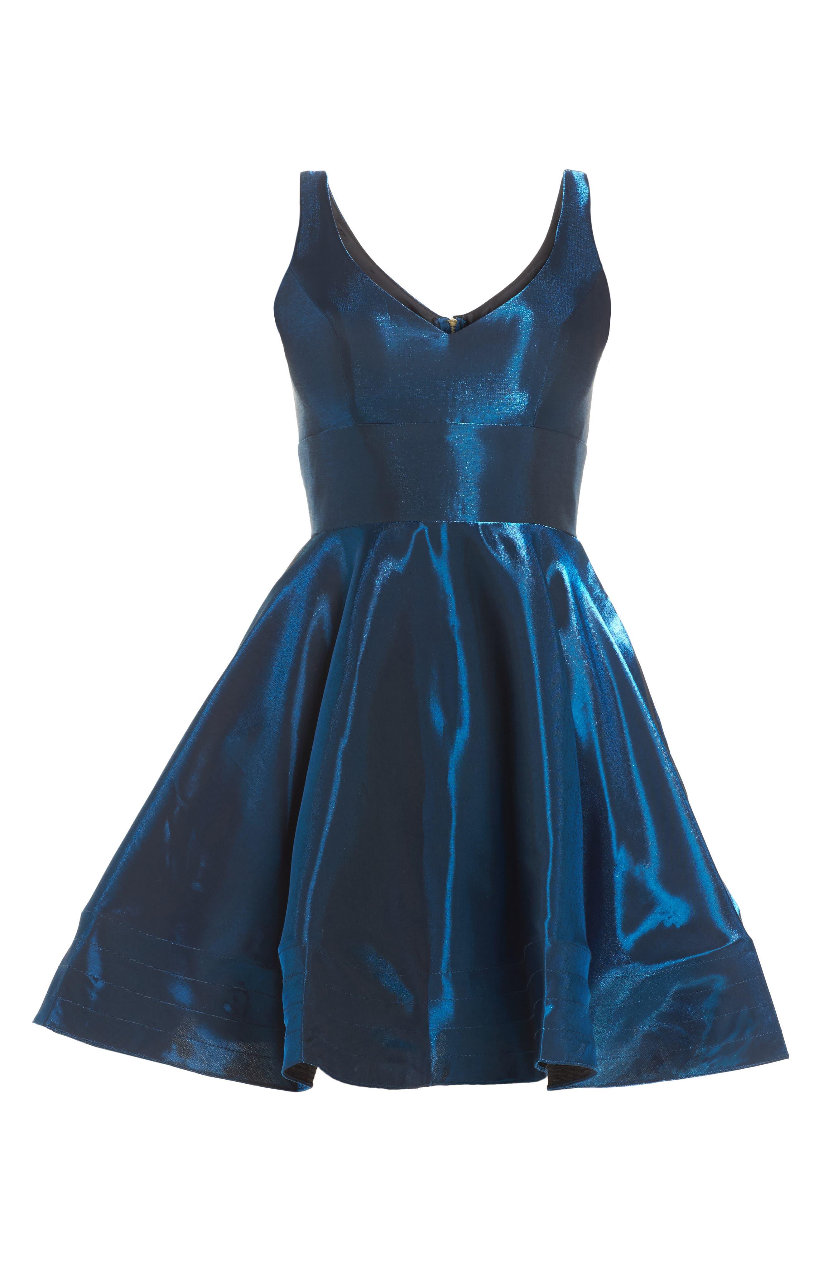 Shimmer Fit & Flare Dress,                             Alternate thumbnail 6, color,                             400