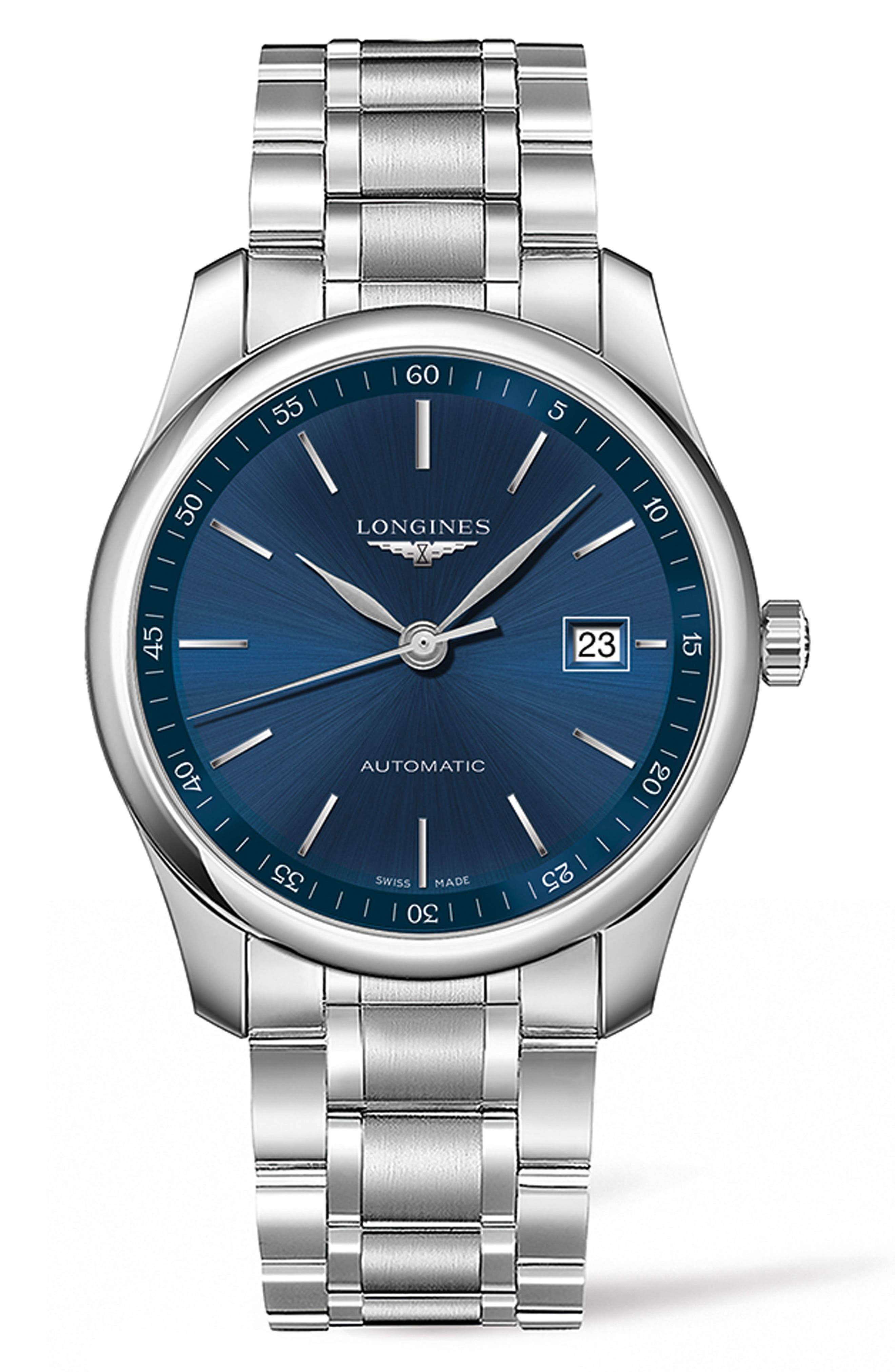 Master Automatic Bracelet Watch, 40mm,                             Main thumbnail 1, color,                             SILVER/ BLUE/ SILVER