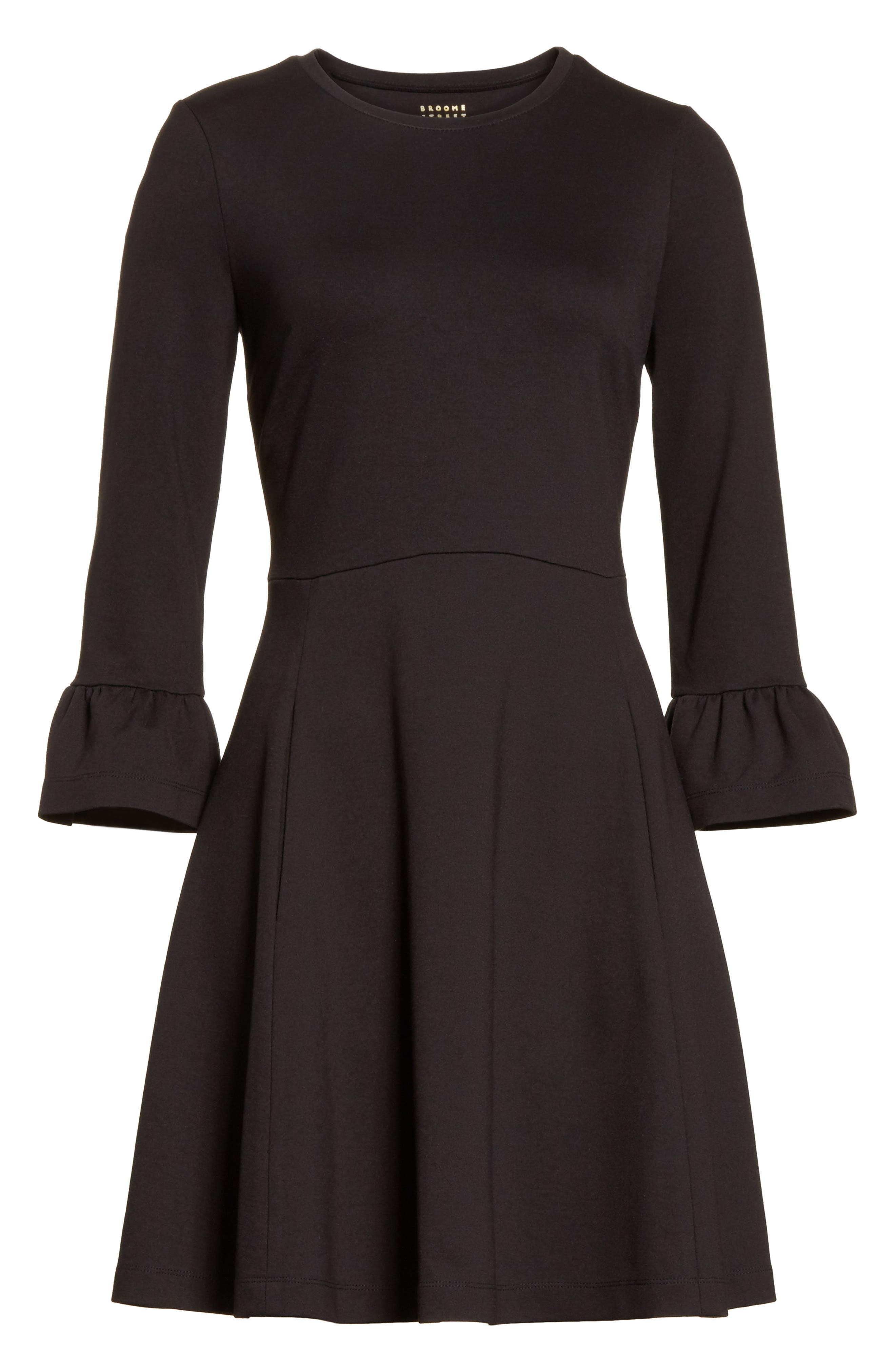 ponte knit fit & flare dress,                             Alternate thumbnail 6, color,                             001