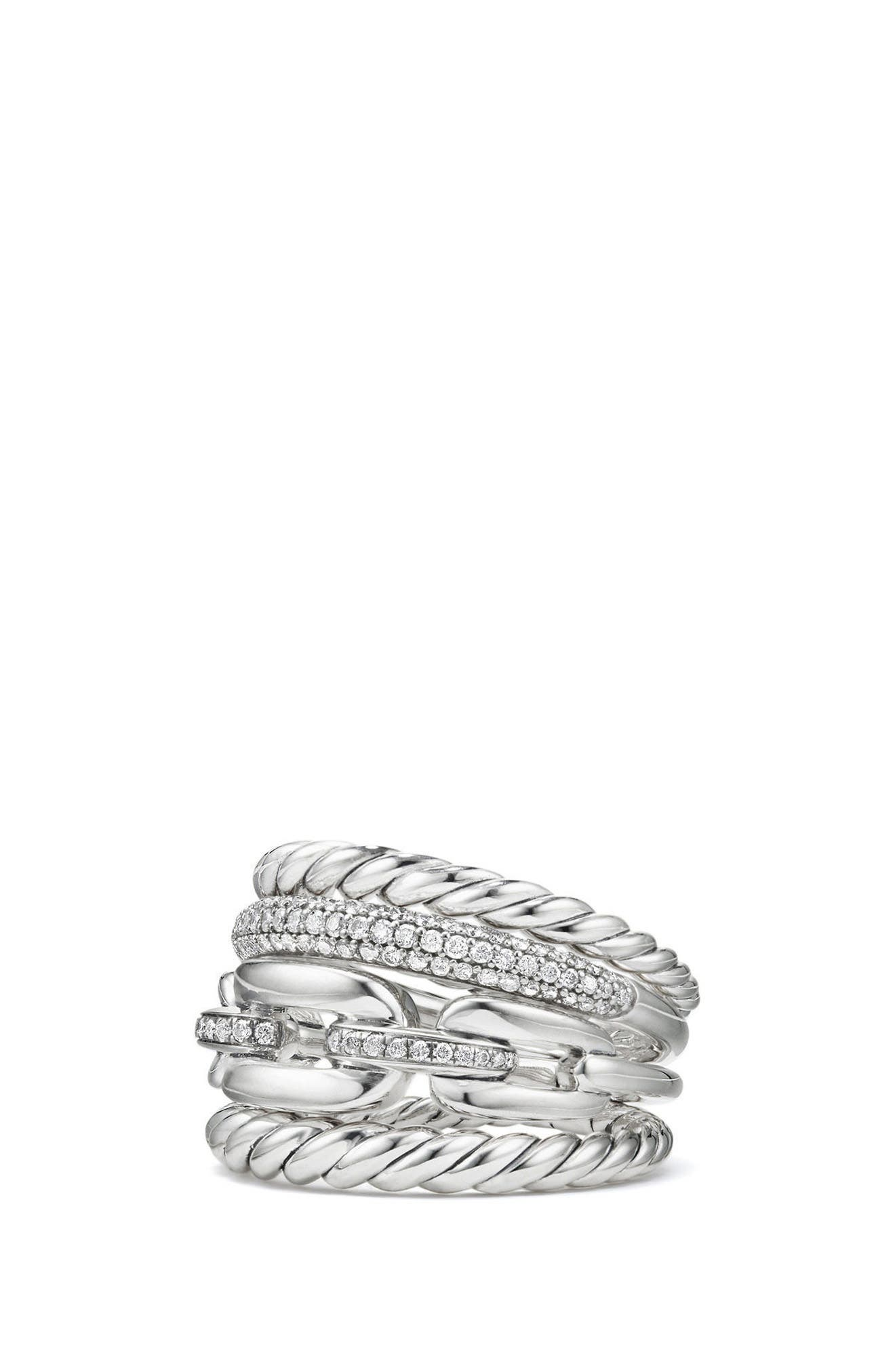 Wellesley Four-Row Ring with Diamonds,                         Main,                         color, SILVER