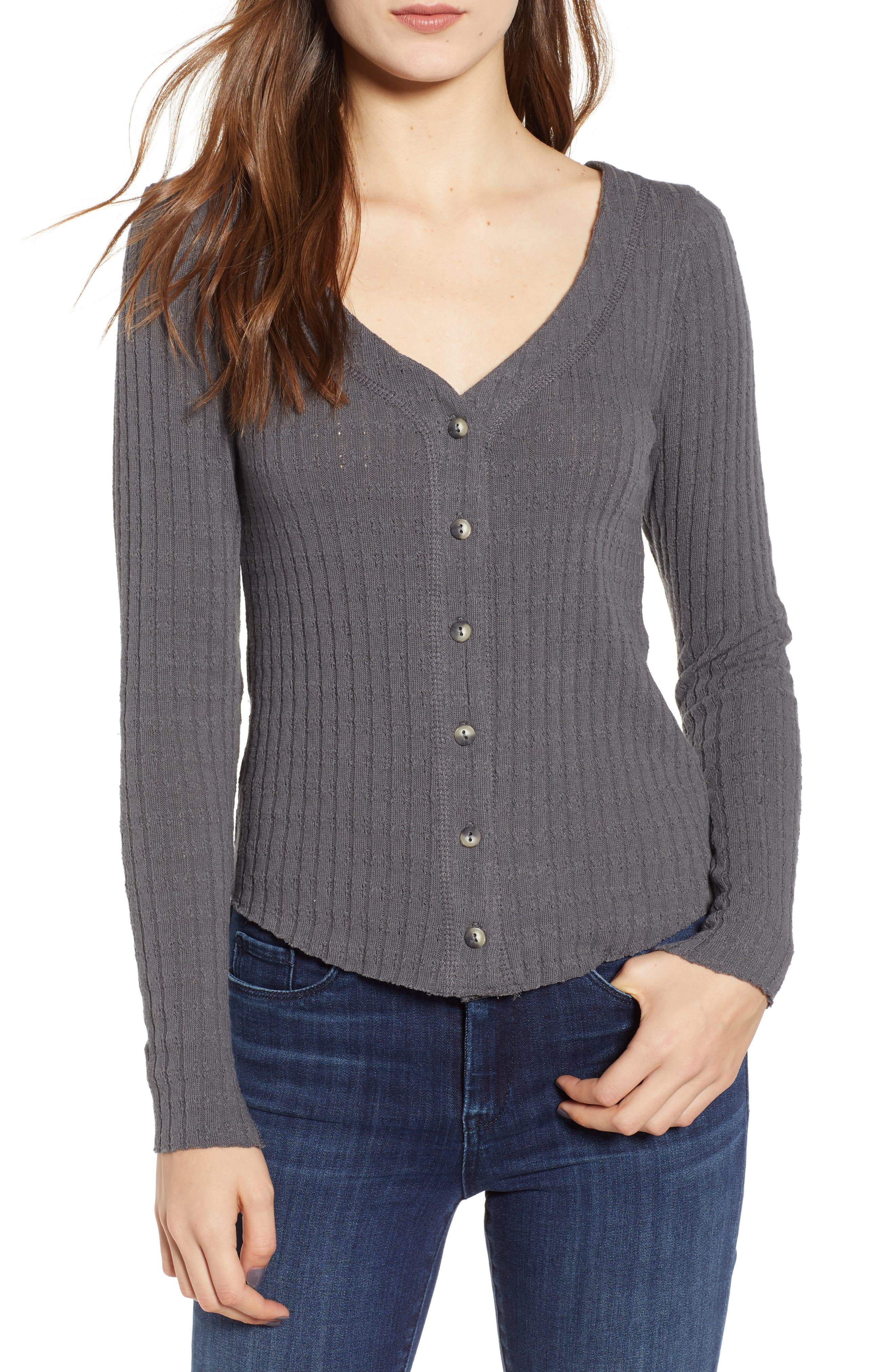 Lotta Love Button Front Top,                         Main,                         color, CHARCOAL