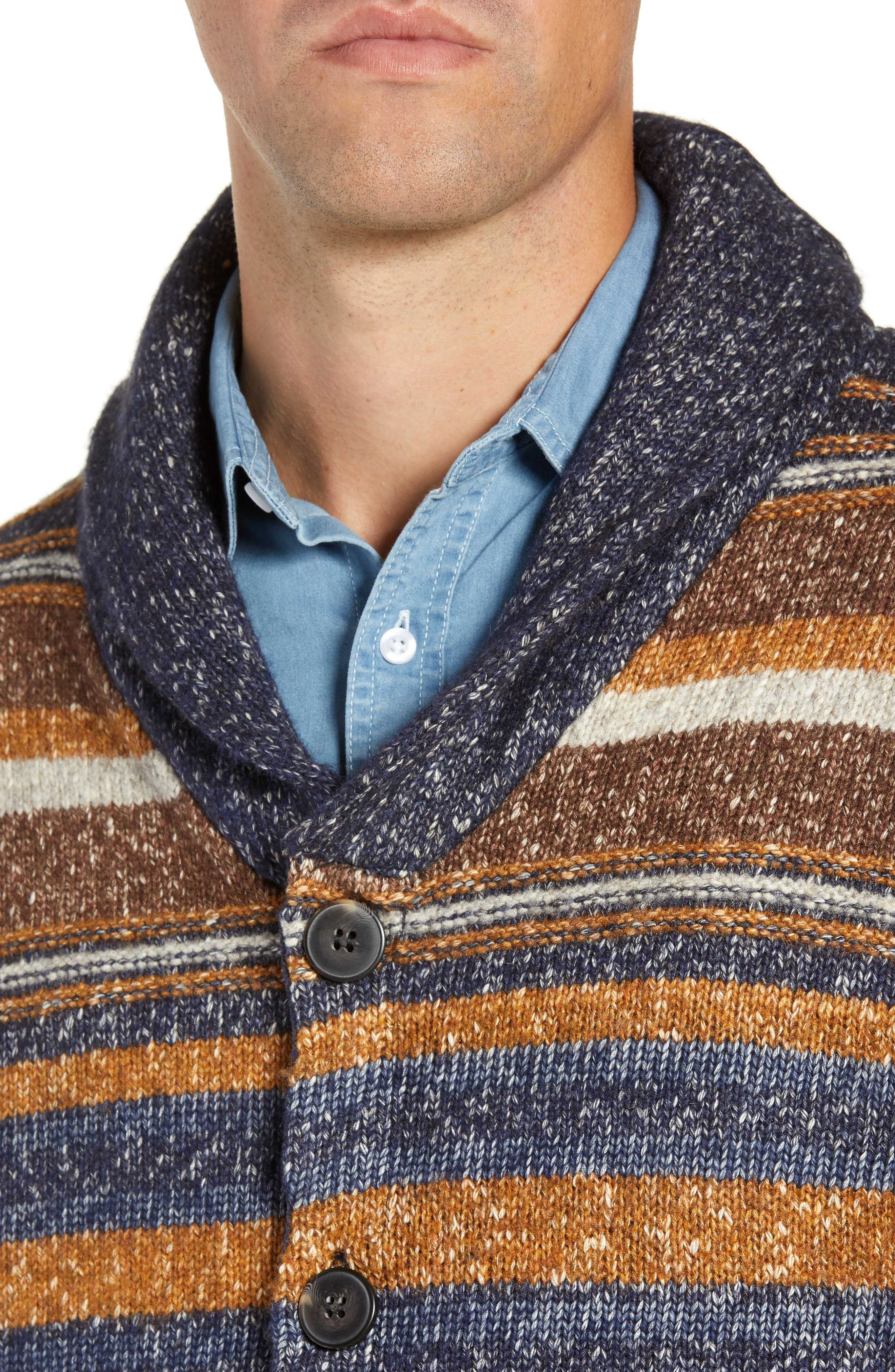 Stripe Cardigan Sweater,                             Alternate thumbnail 4, color,                             STRIPE