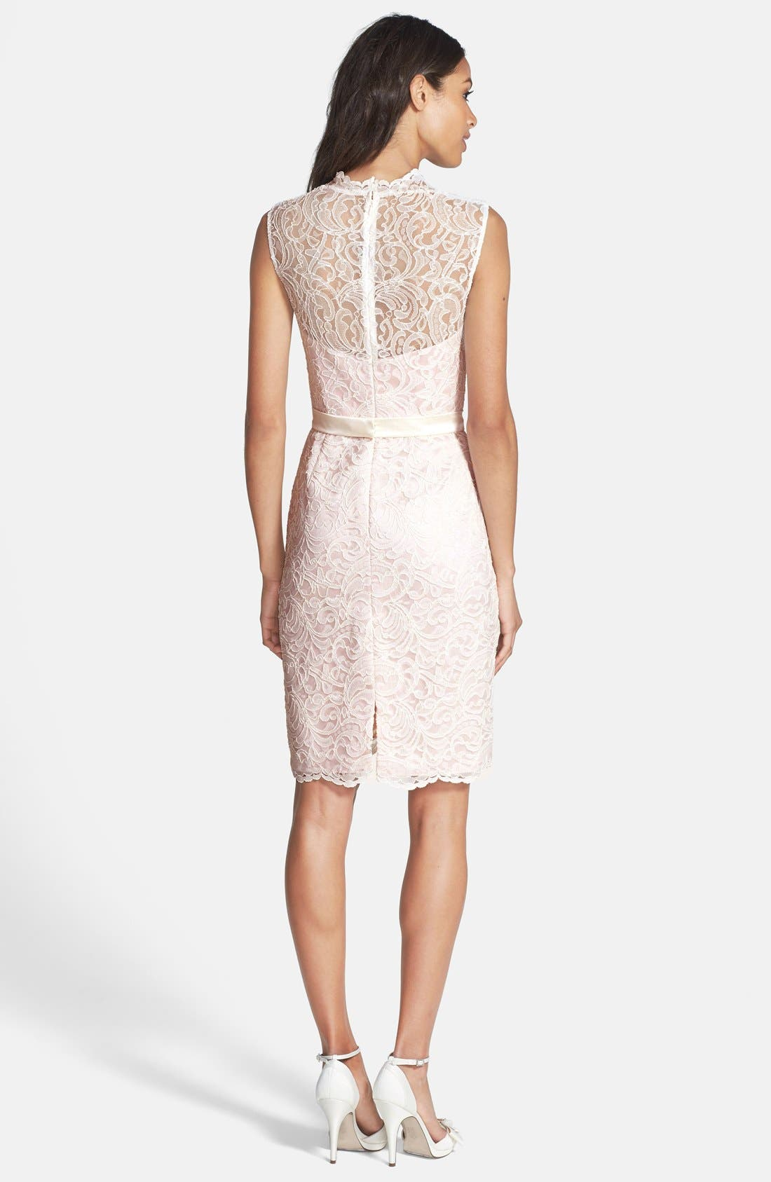 Lace Overlay Matte Satin Dress,                             Alternate thumbnail 3, color,                             686