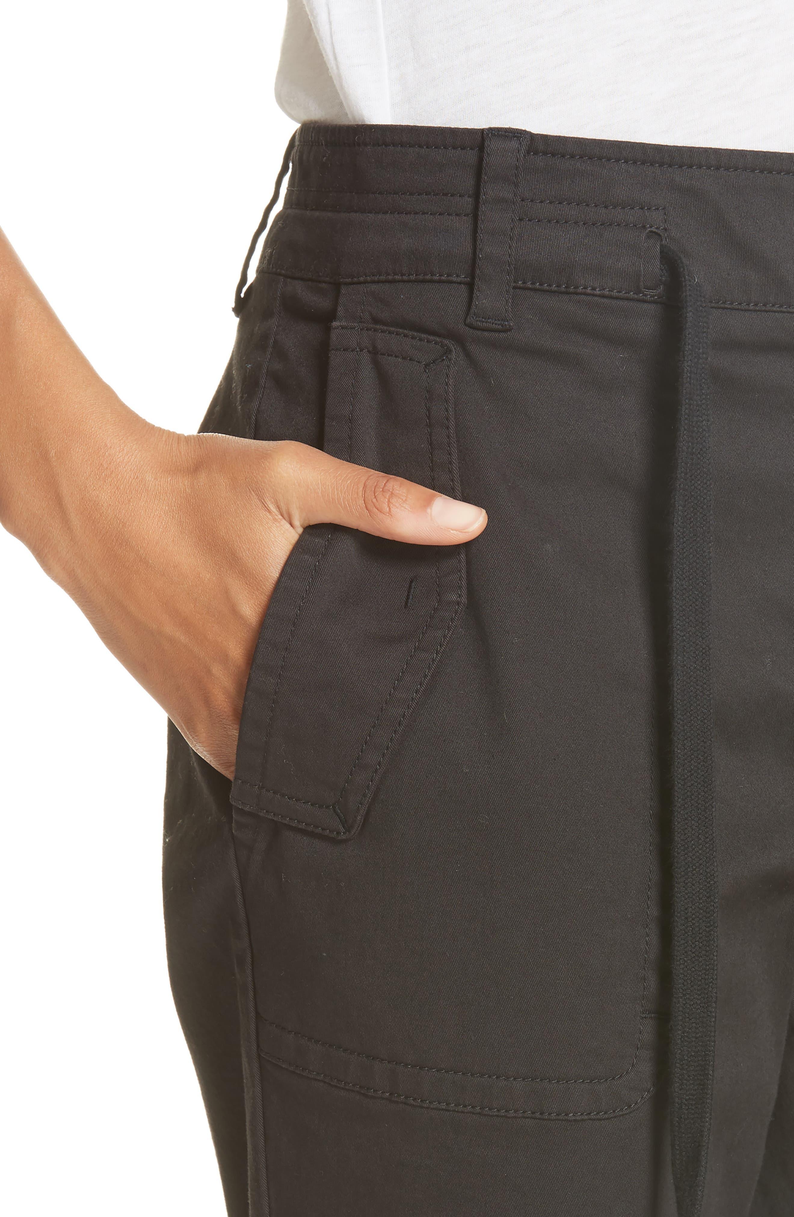 Crop Utility Pants,                             Alternate thumbnail 4, color,                             BLACK