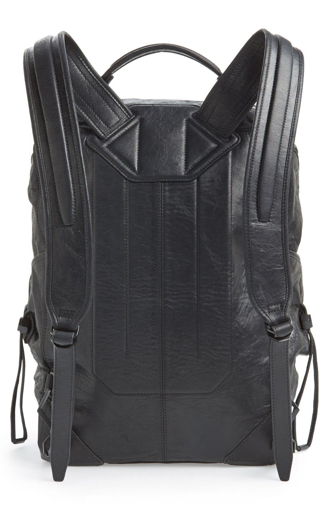 'Wallie' Leather Backpack,                             Alternate thumbnail 3, color,                             001