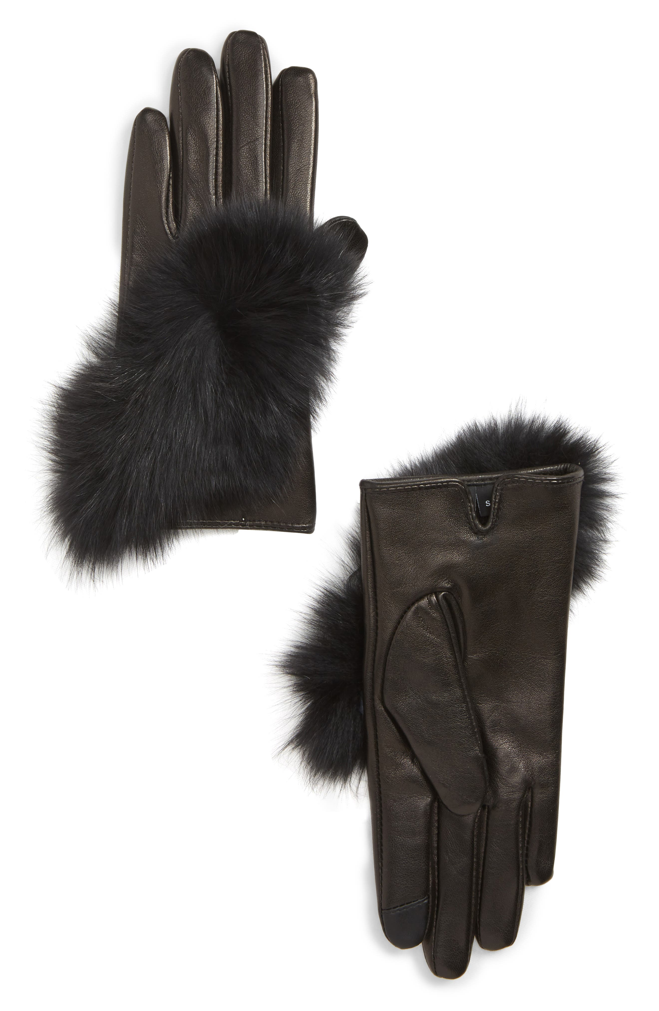 ECHO,                             Lambskin Leather Touchscreen Gloves with Genuine Fox Fur Trim,                             Main thumbnail 1, color,                             BLACK
