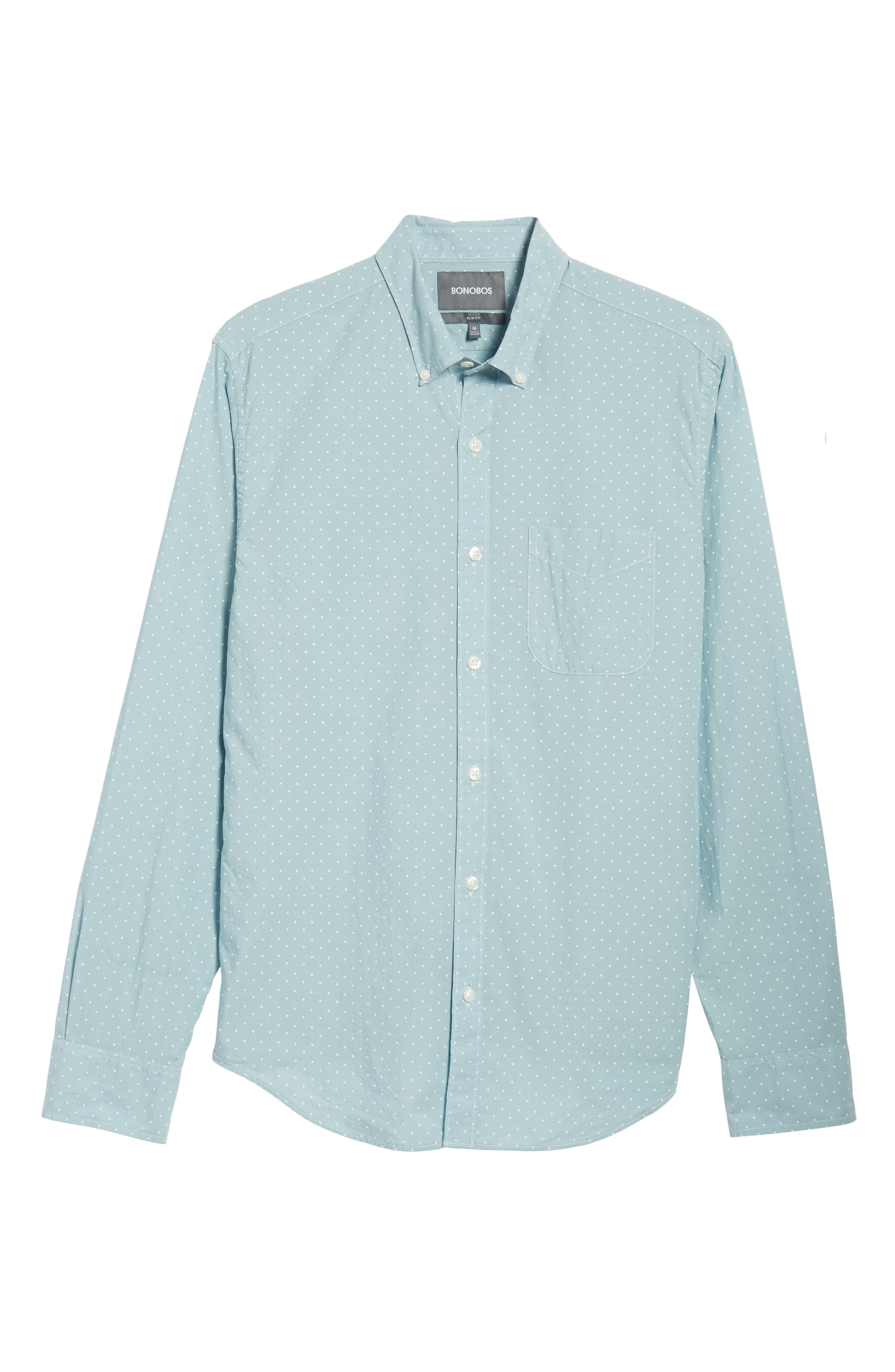 Summerweight Slim Fit Dot Sport Shirt,                             Alternate thumbnail 5, color,                             400