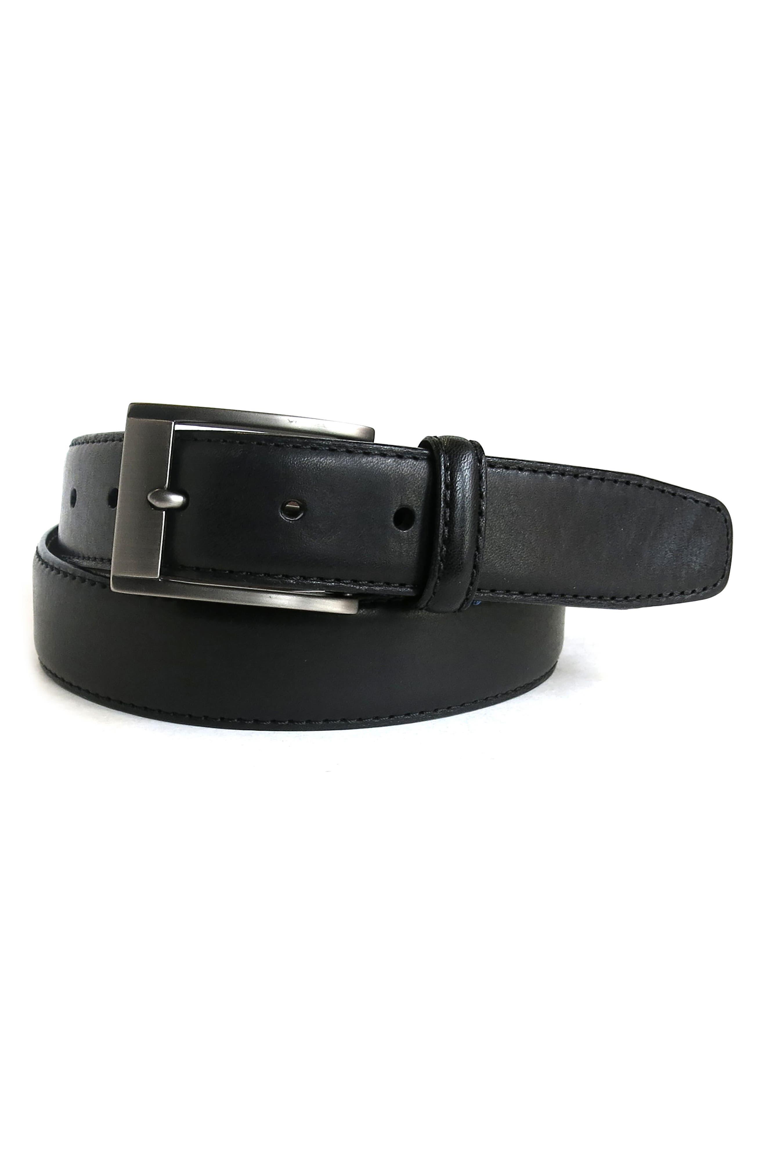 Collins Leather Belt,                             Alternate thumbnail 3, color,                             BLACK
