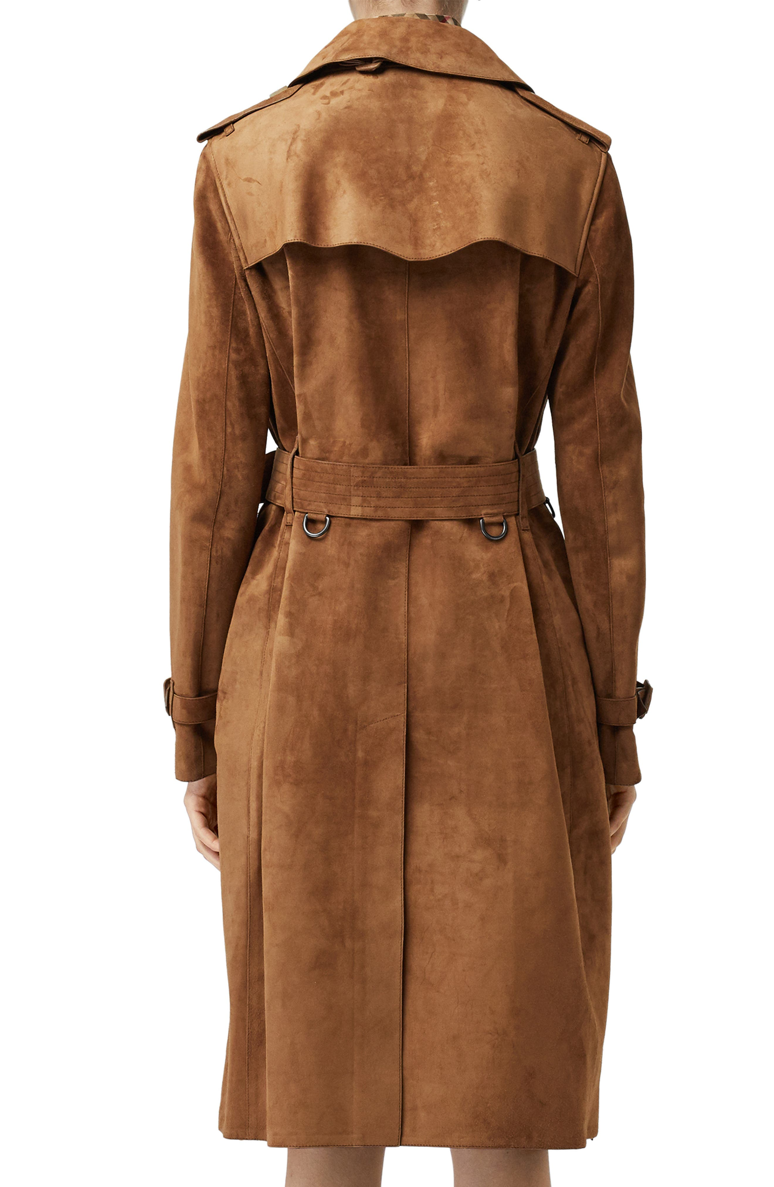 BURBERRY,                             Haddington Suede Trench Coat,                             Alternate thumbnail 2, color,                             SEPIA BROWN