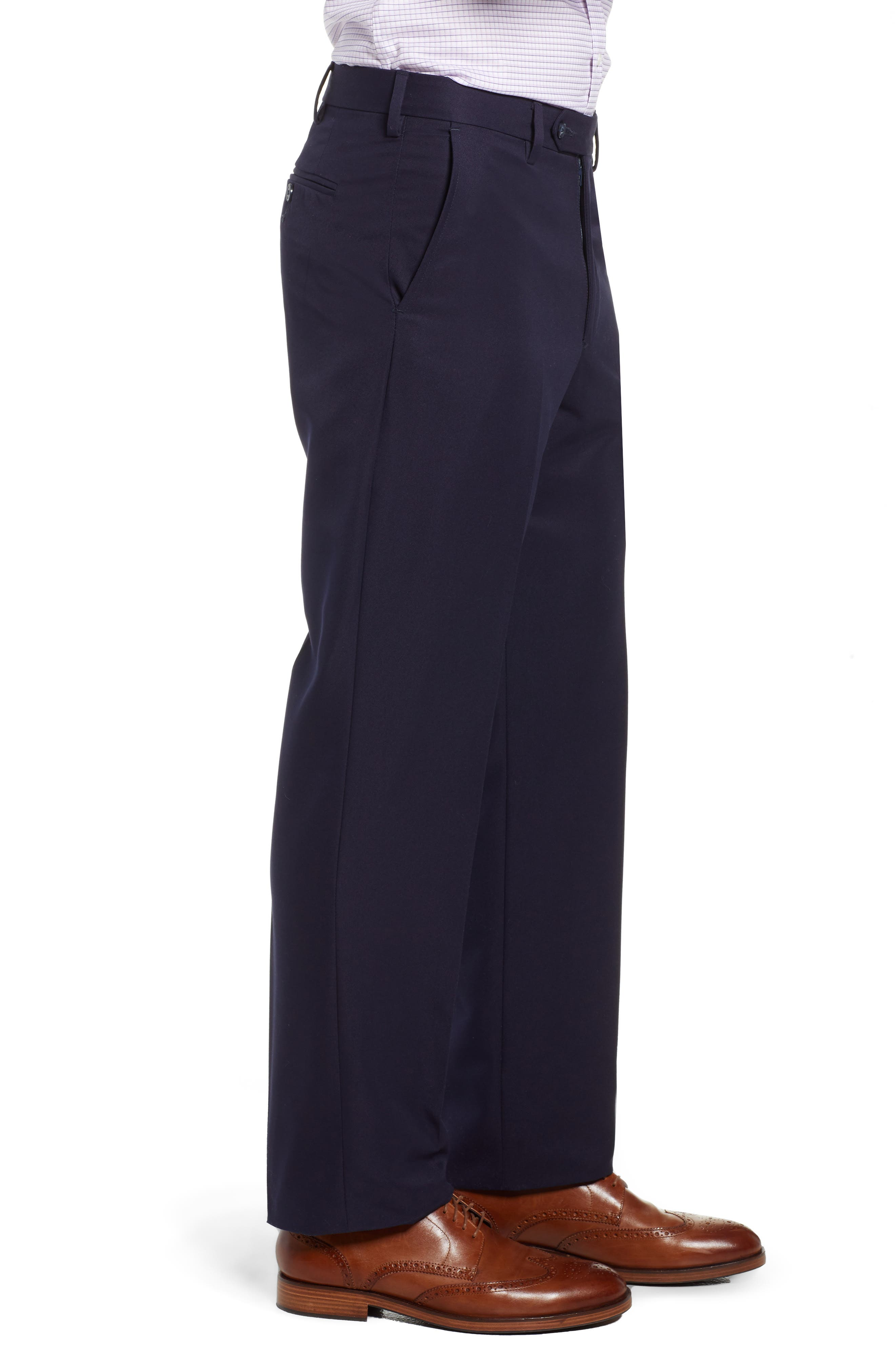 Classic Fit Flat Front Microfiber Performance Trousers,                             Alternate thumbnail 3, color,                             NAVY