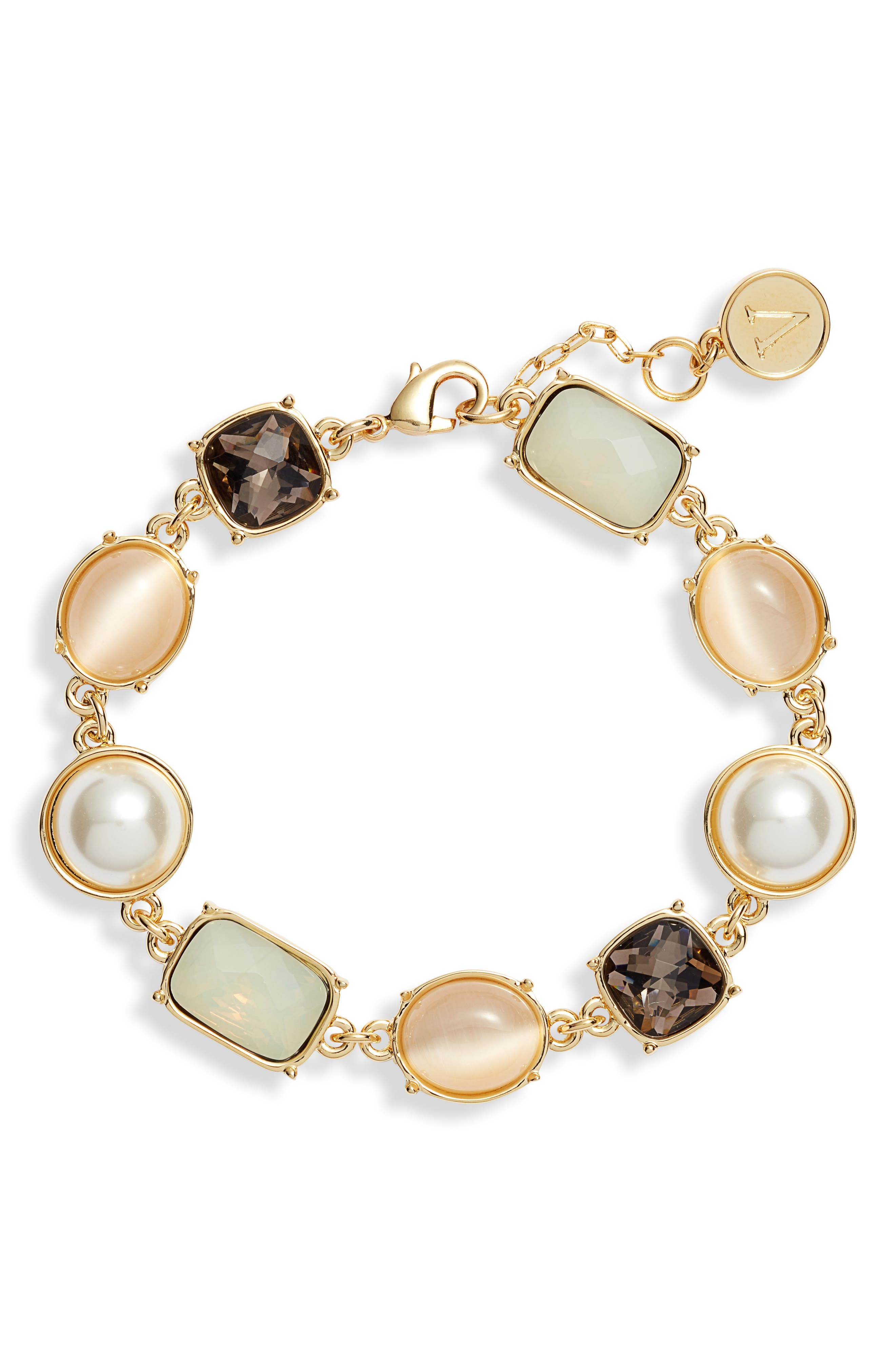 Stone Link Bracelet,                             Main thumbnail 1, color,                             GOLD/ PEARL/ CORAL