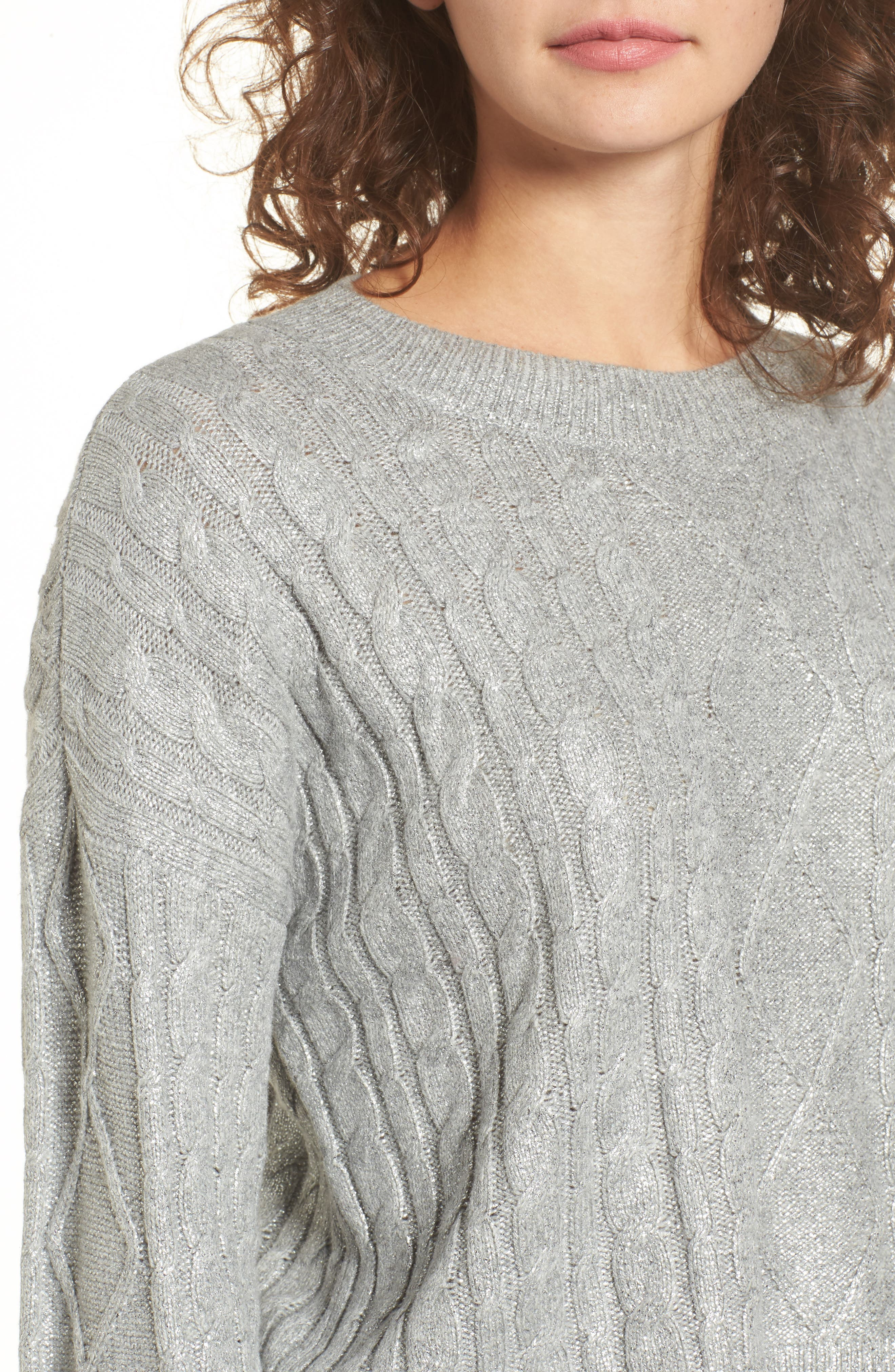 Metallic Cable Knit Sweater,                             Alternate thumbnail 4, color,                             030