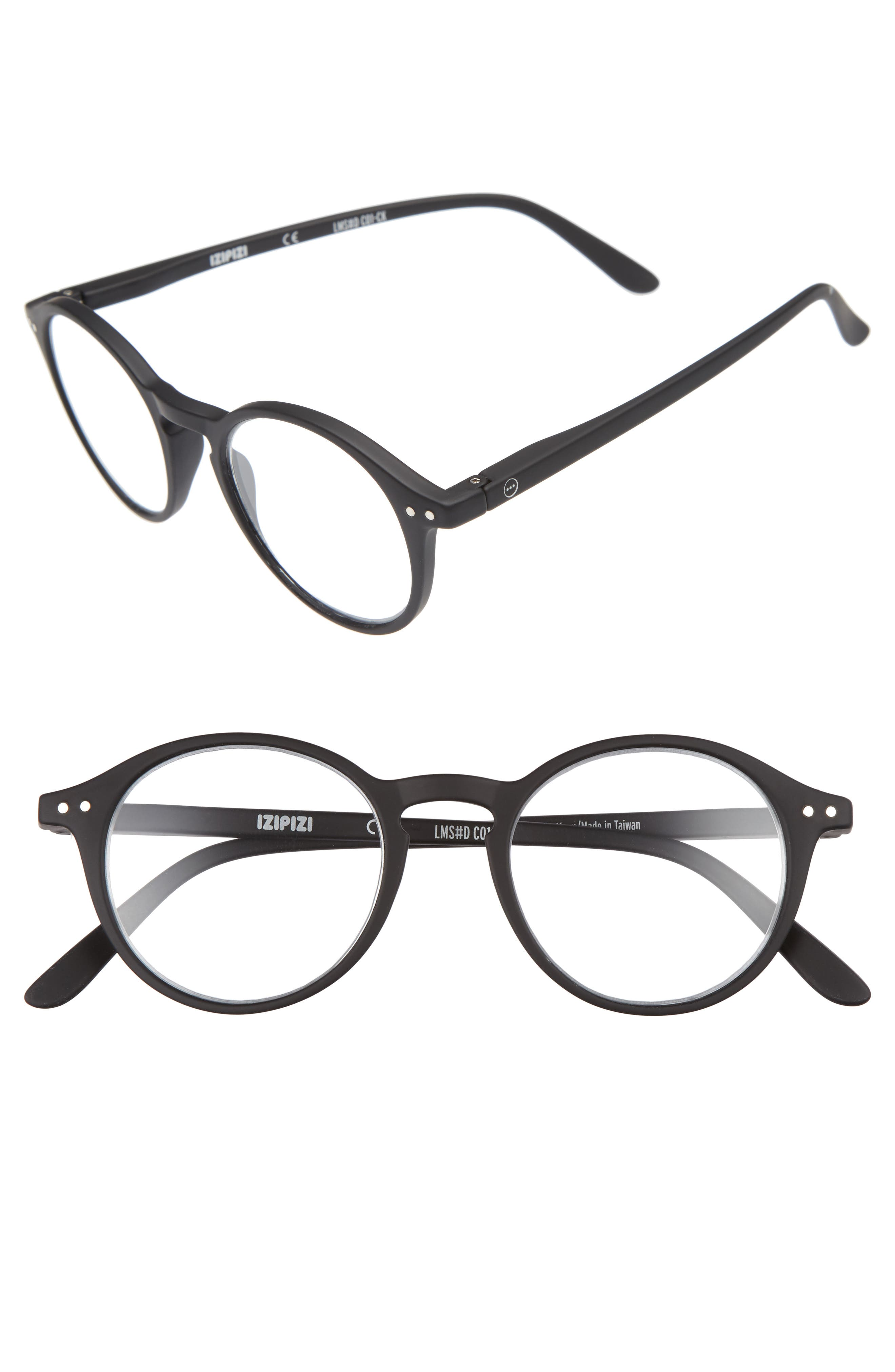 D 46mm Round Reading Glasses,                             Main thumbnail 1, color,                             001