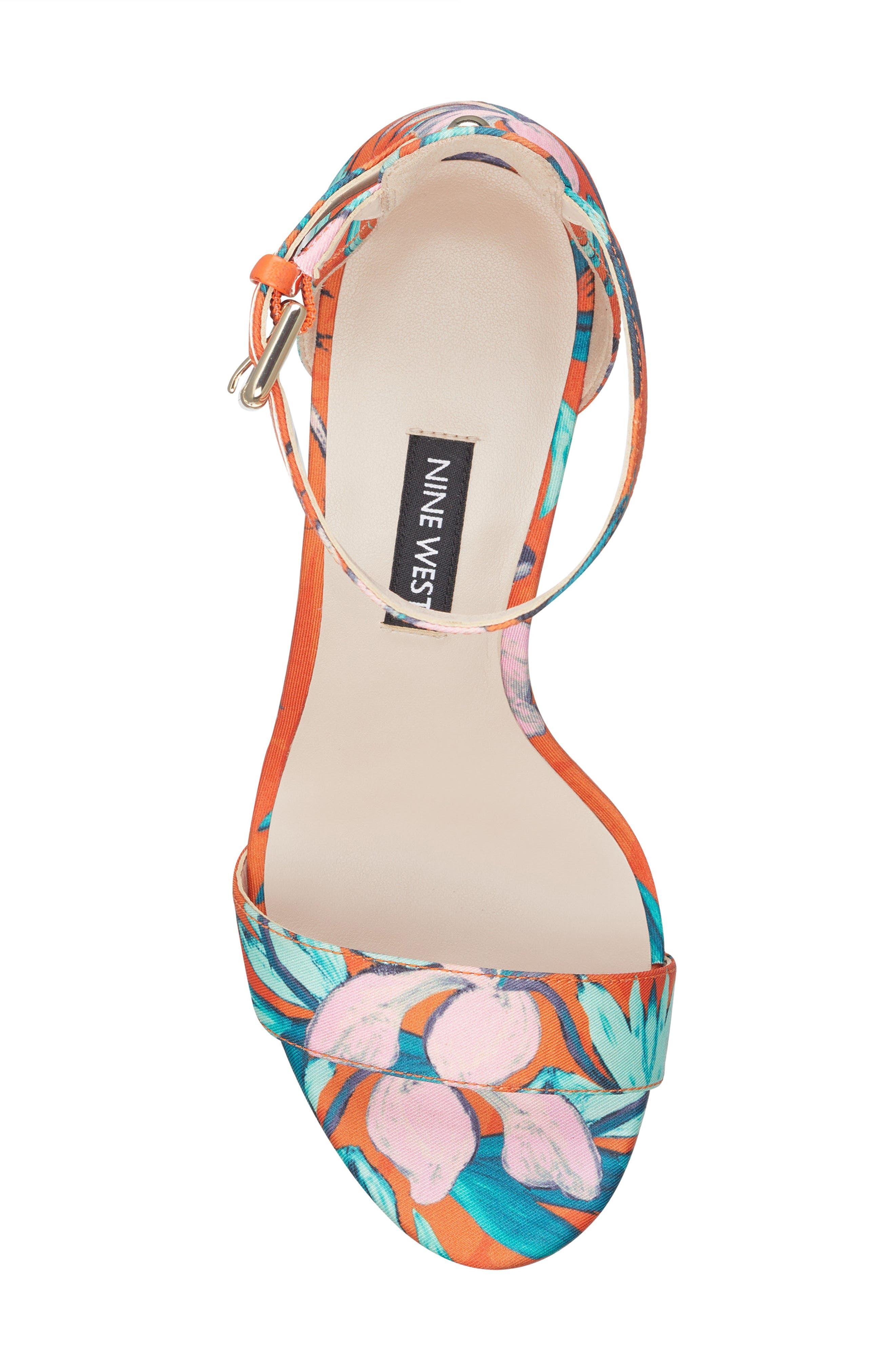 Dempsey Platform Sandal,                             Alternate thumbnail 5, color,                             ORANGE MULTI FABRIC