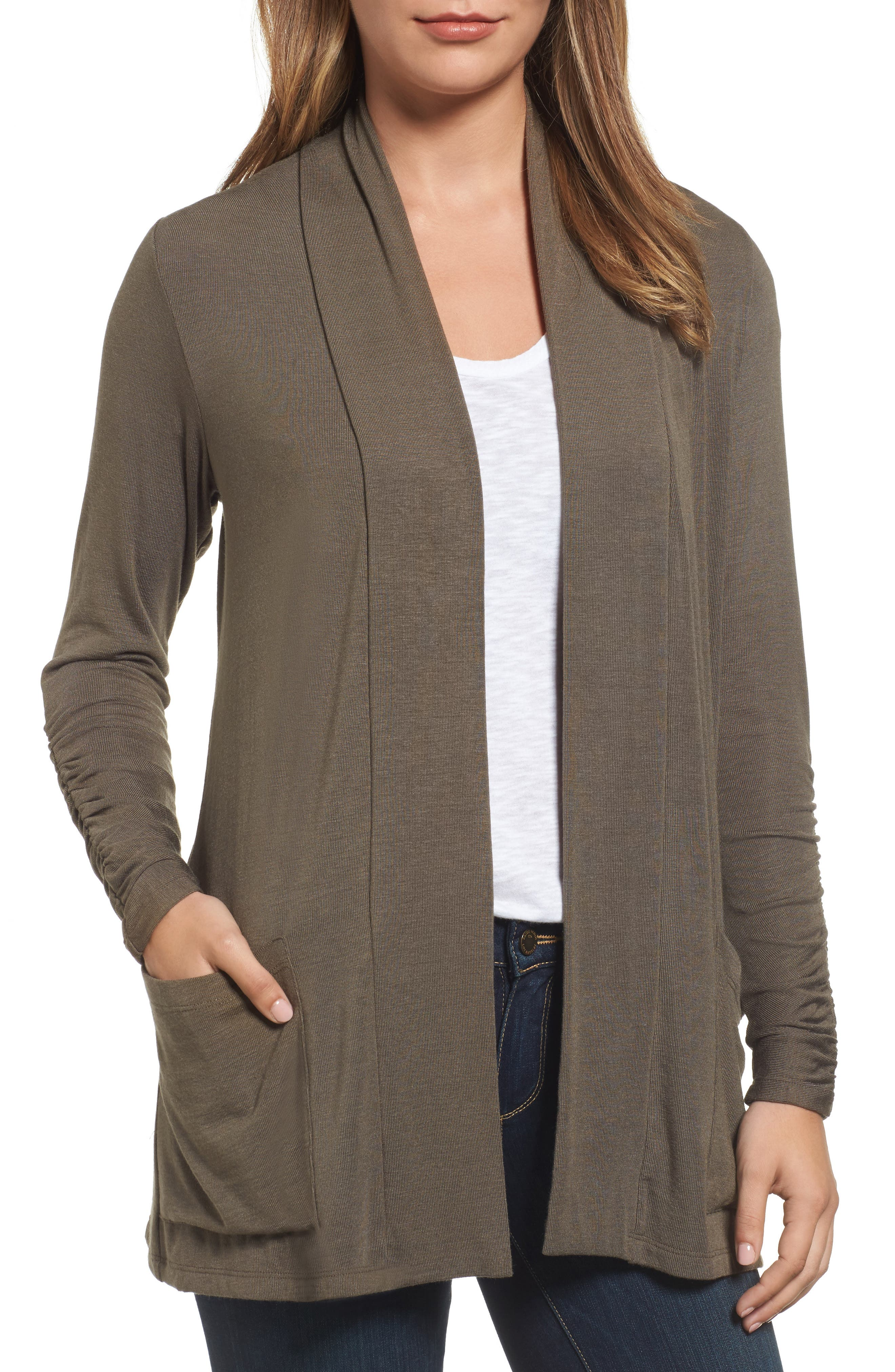Ruched Sleeve Cardigan,                             Main thumbnail 1, color,                             OLIVE