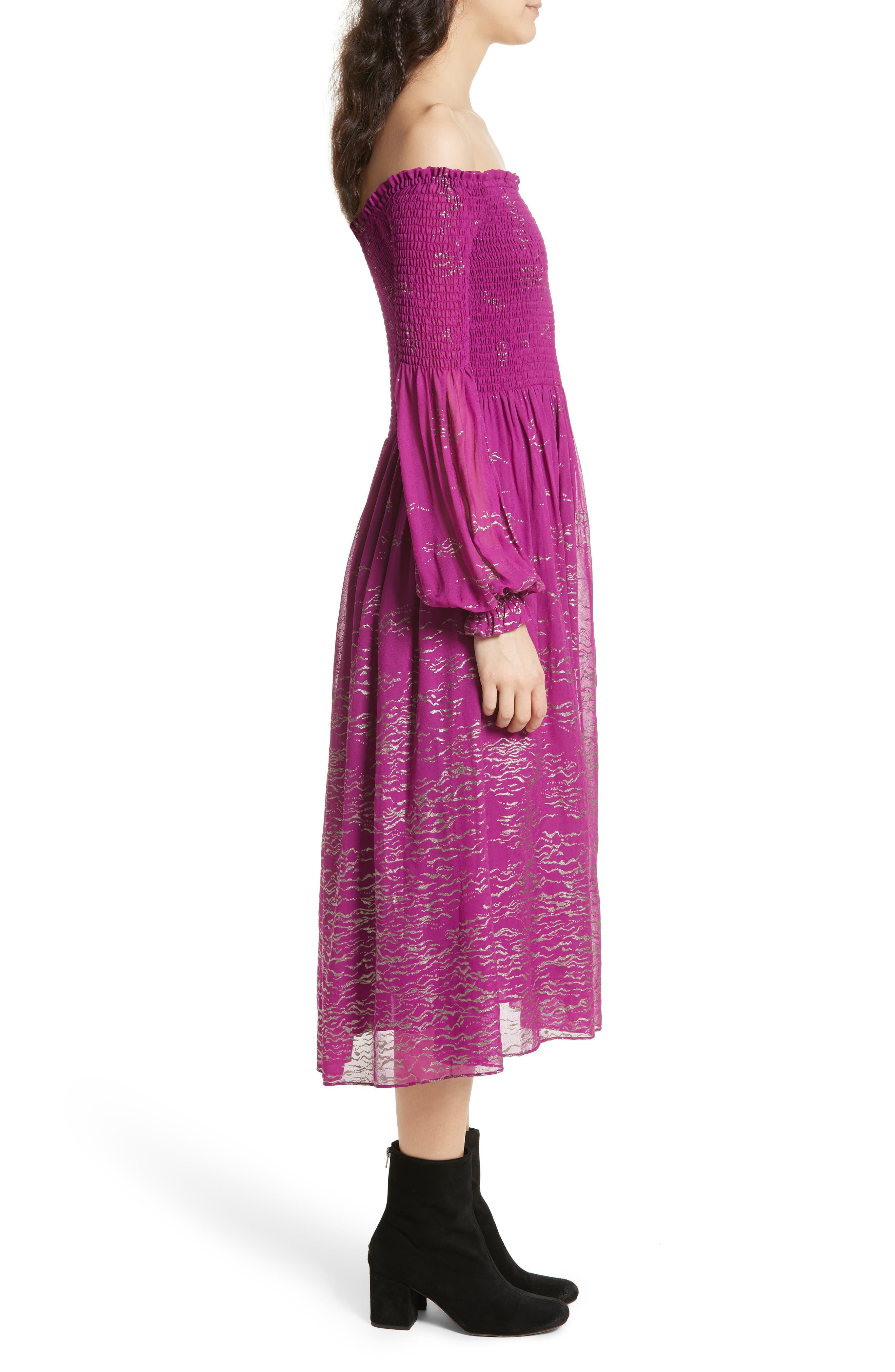 Foiled Smocked Midi Dress,                             Alternate thumbnail 6, color,