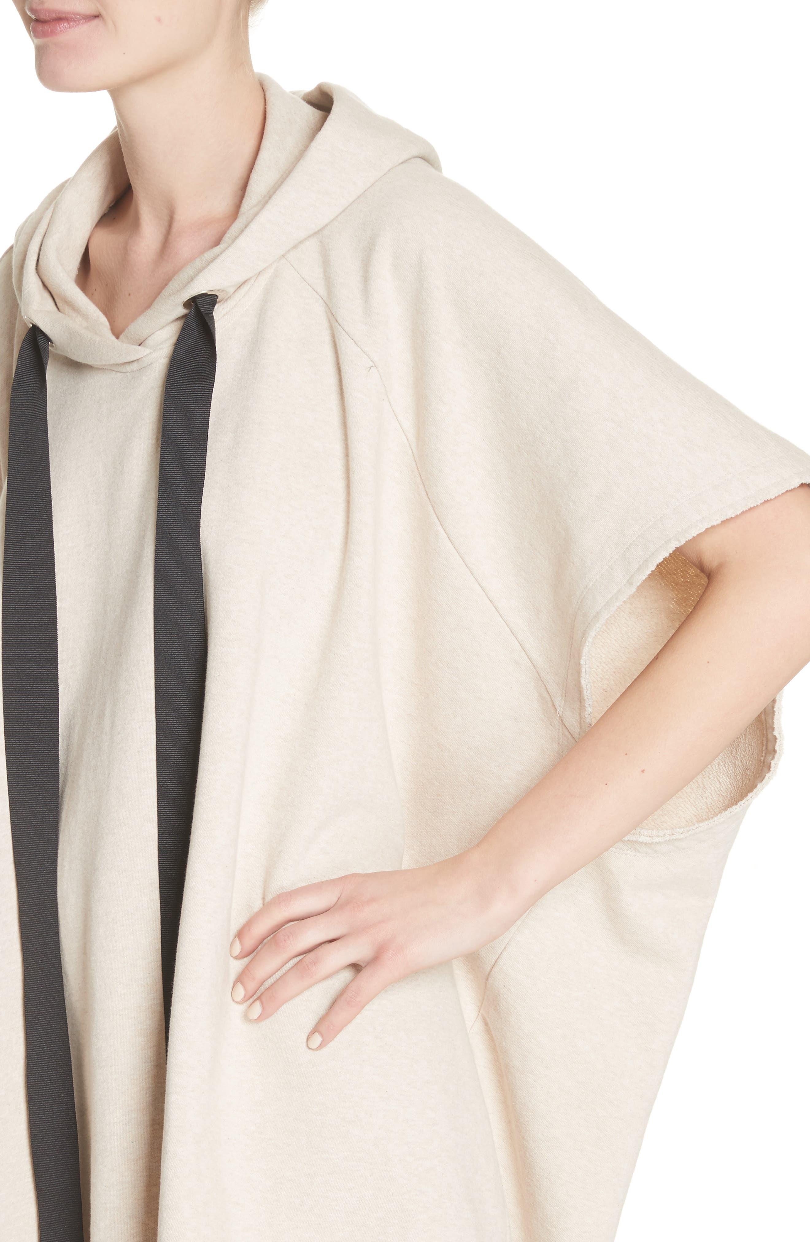 Marques'Almeida Asymmetrical Cap Sleeve Hoodie,                             Alternate thumbnail 4, color,                             250