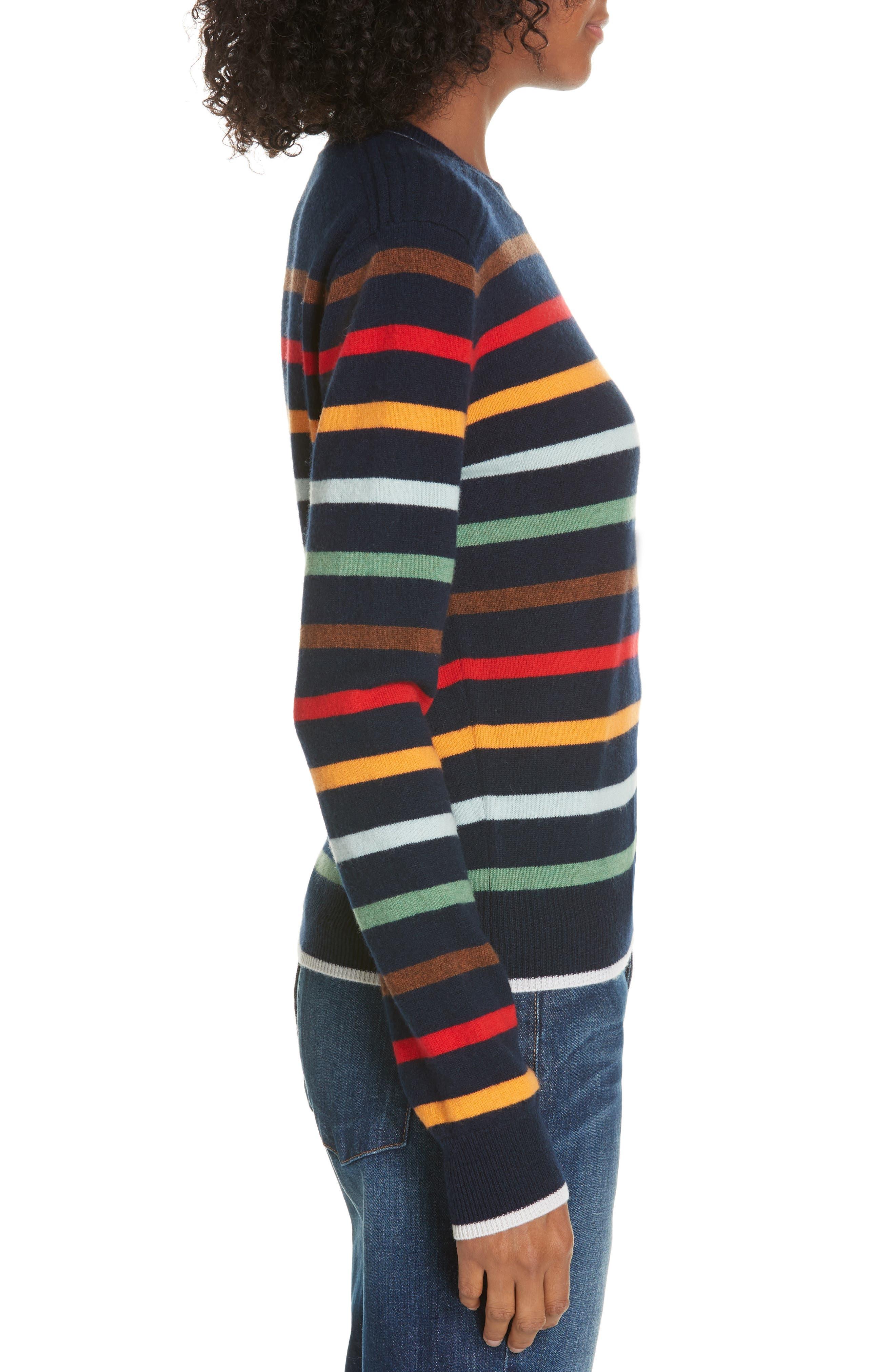 Rainbow Neat Wool & Cashmere Sweater,                             Alternate thumbnail 3, color,                             NAVY/ RAINBOW
