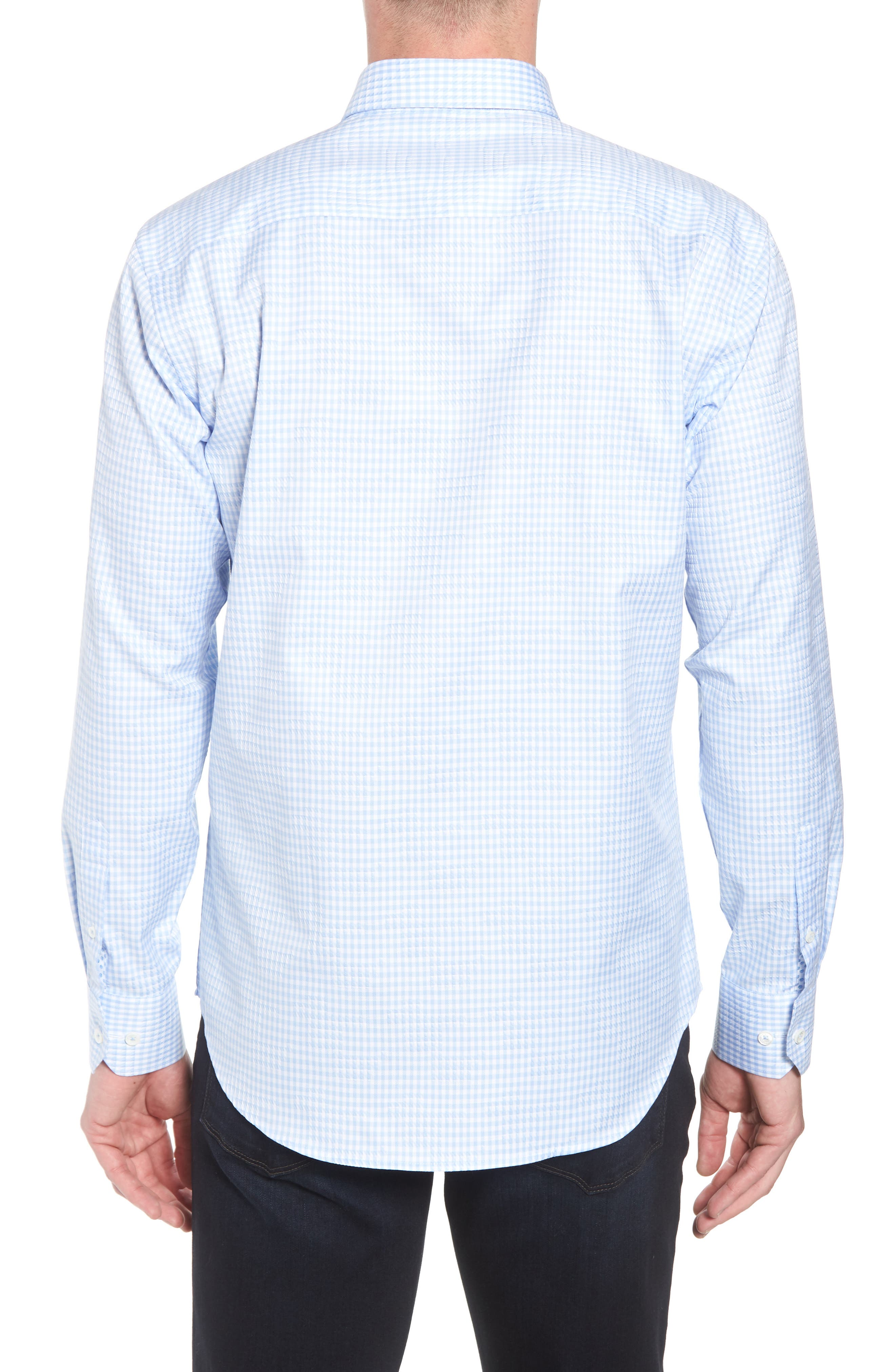 Shaped Fit Gingham Sport Shirt,                             Alternate thumbnail 2, color,                             459