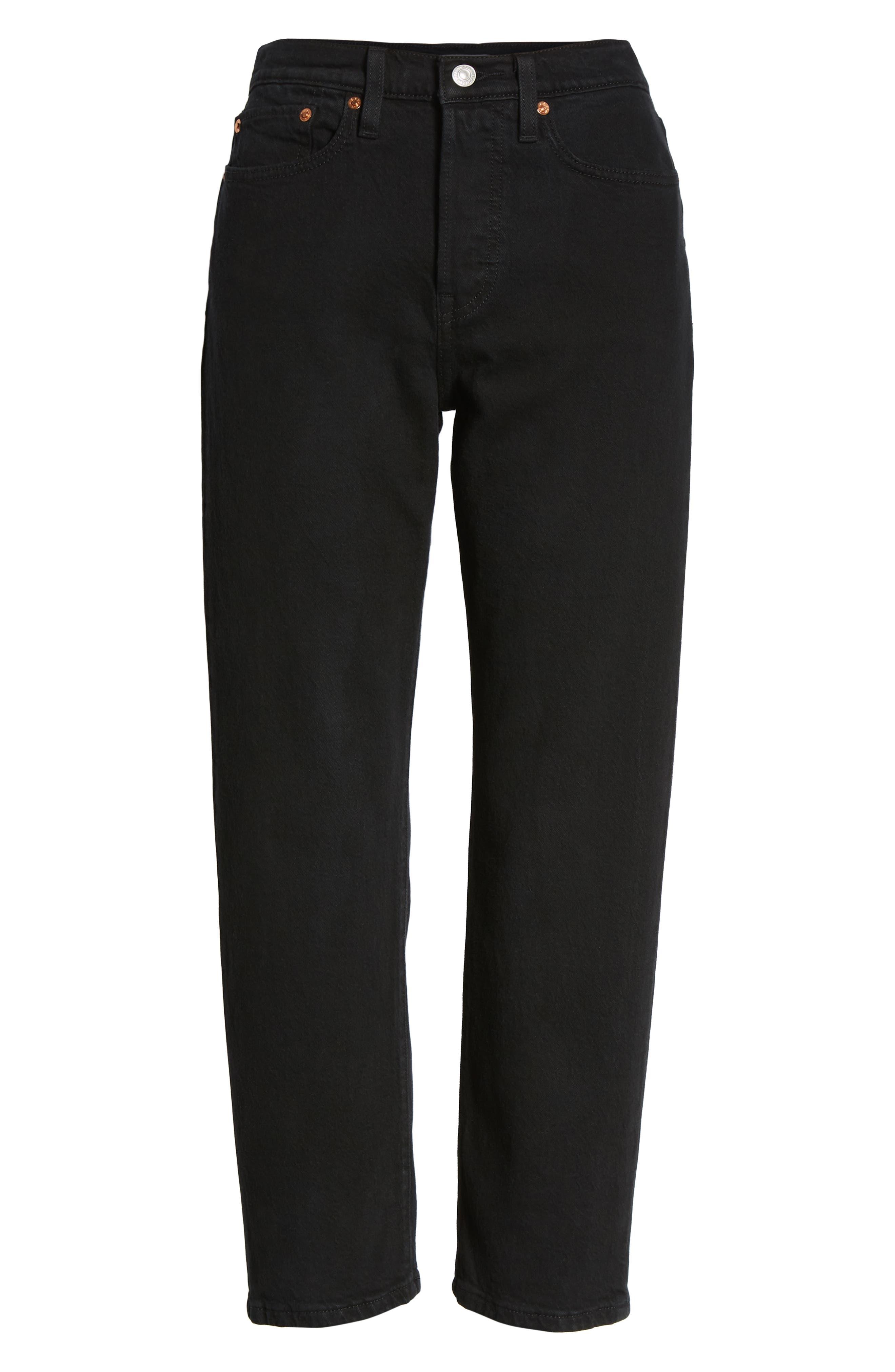 Wedgie High Waist Straight Jeans,                             Alternate thumbnail 7, color,                             BLACK HEART
