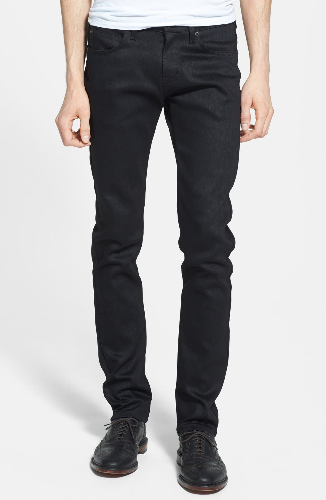 'Super Skinny Guy' Skinny Fit Raw Jeans,                             Main thumbnail 1, color,                             BLACK POWER STRETCH