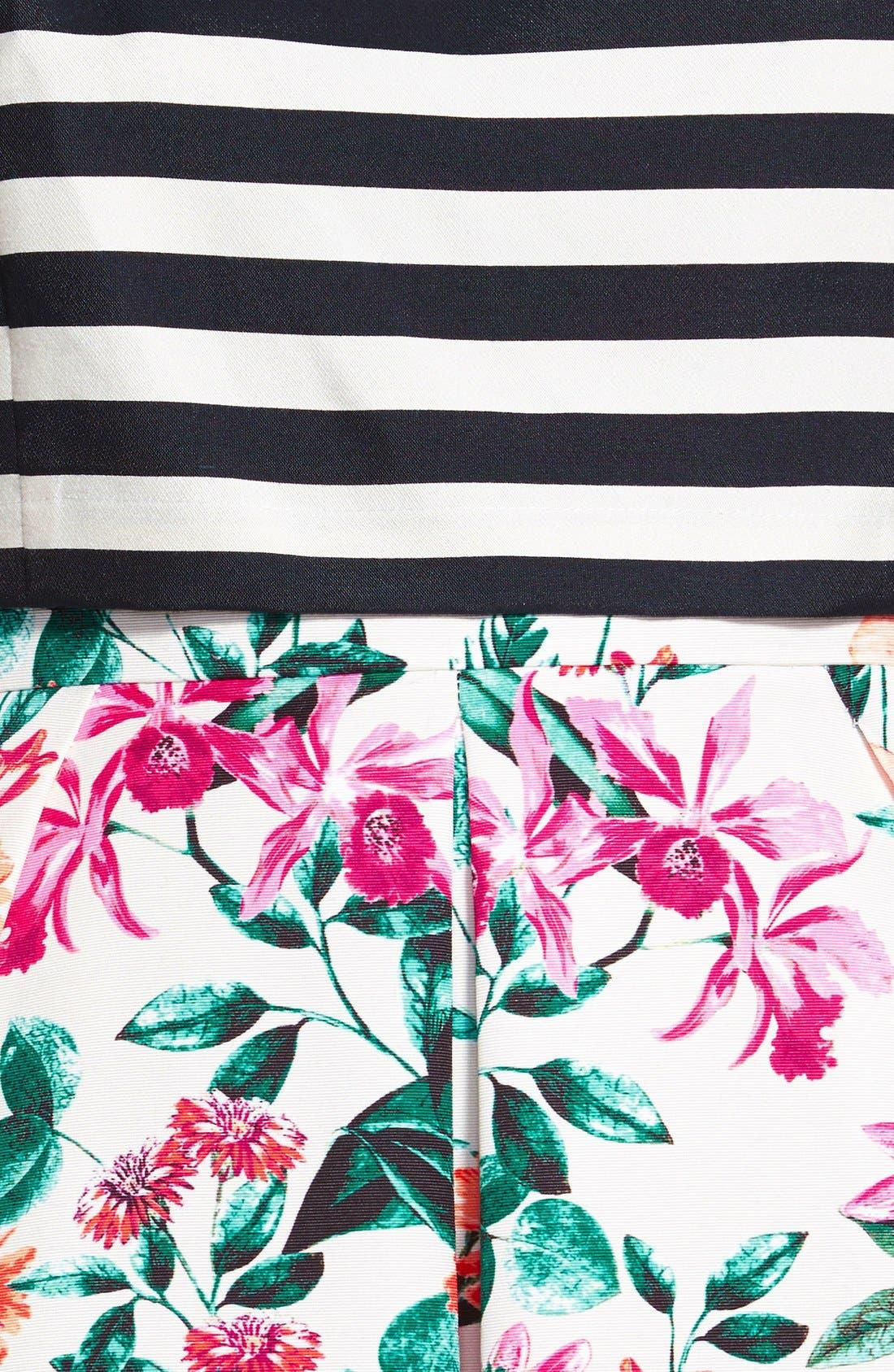 Mixed Print Bodice Overlay Dress,                             Alternate thumbnail 3, color,                             900